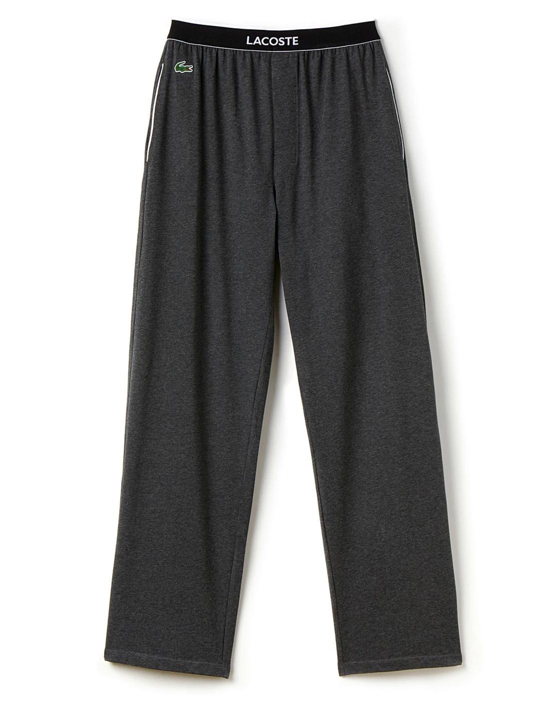 + LACOSTE Mens Retro Unicolour Lounge Pants Grey