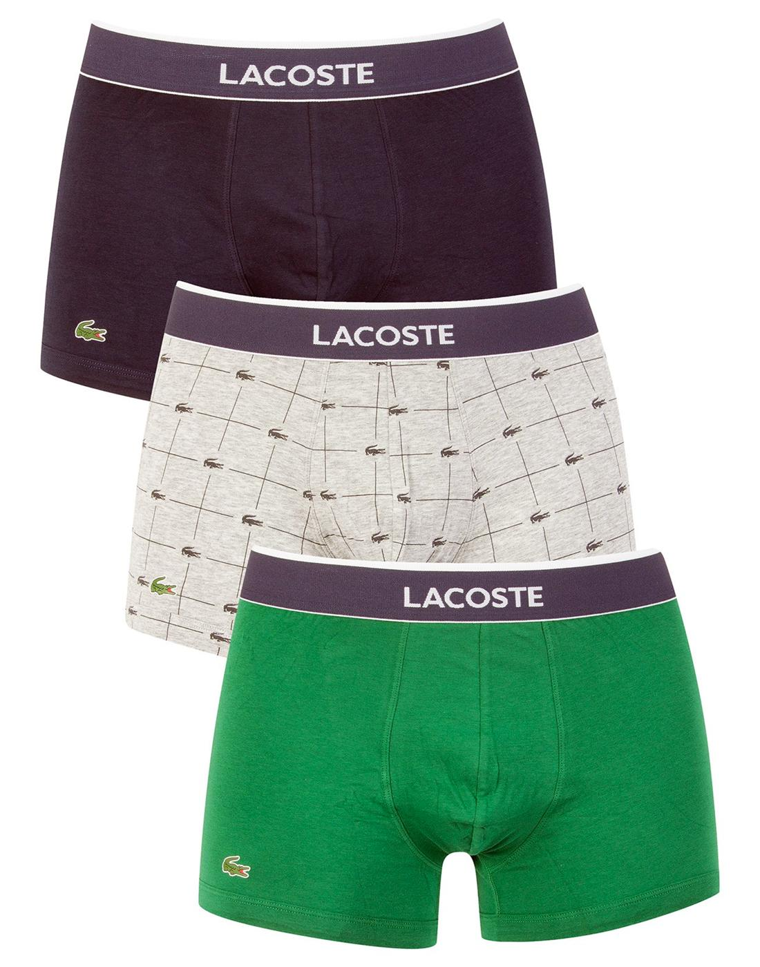 + LACOSTE Mens 3 Pack Colours Retro Trunks - N/G/G
