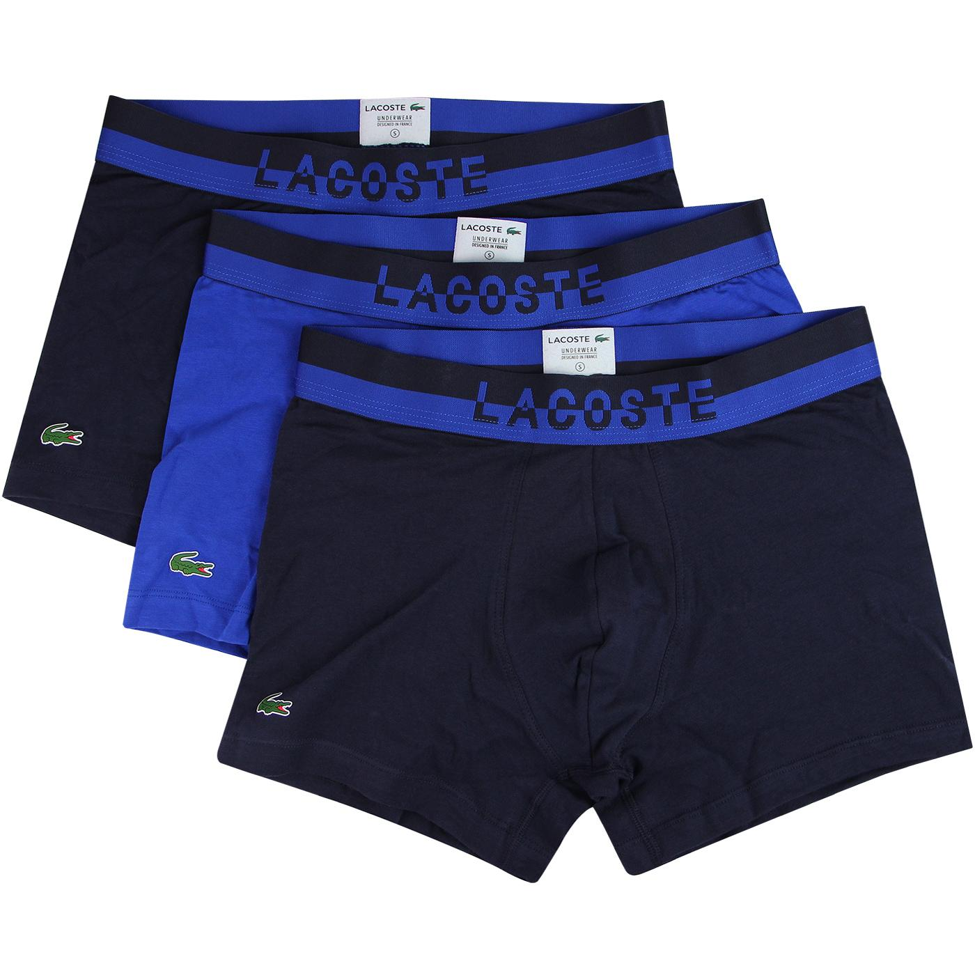 + LACOSTE Men's Contrast Stripe 3 Pack Trunks BLUE