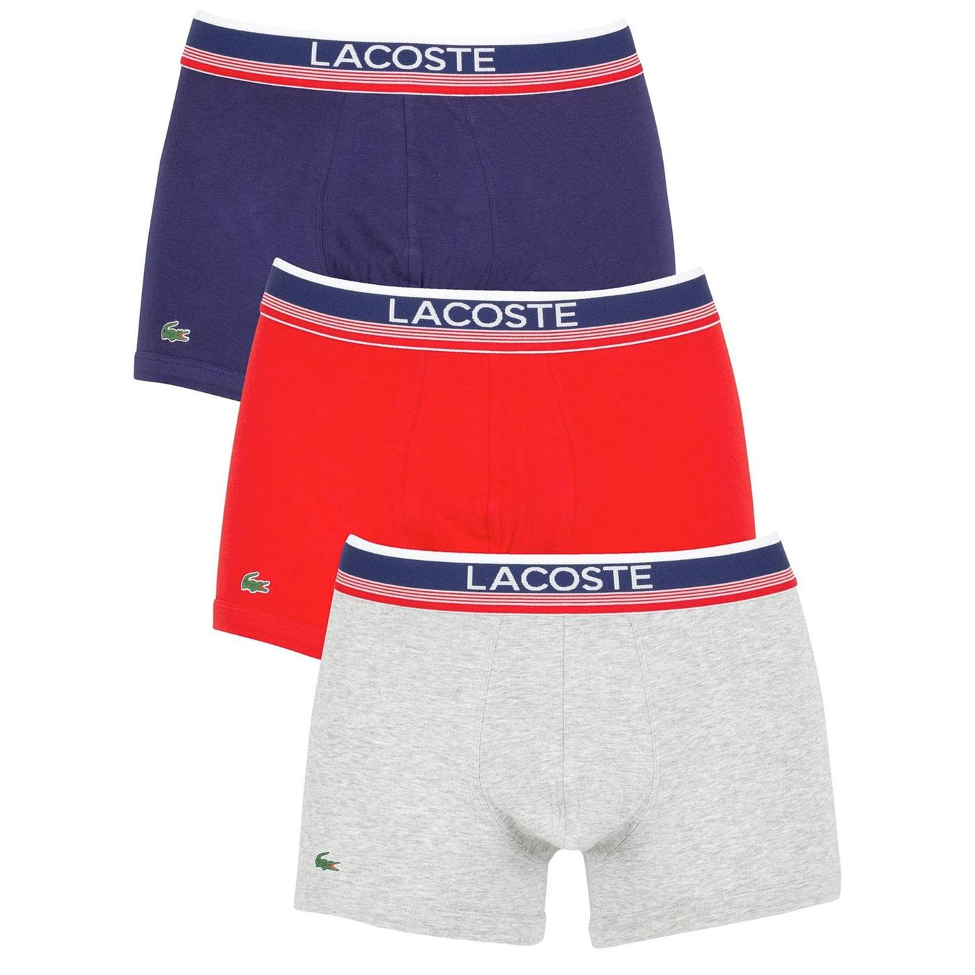 + LACOSTE 3 Pack Stripe Band Colours Mens Trunks