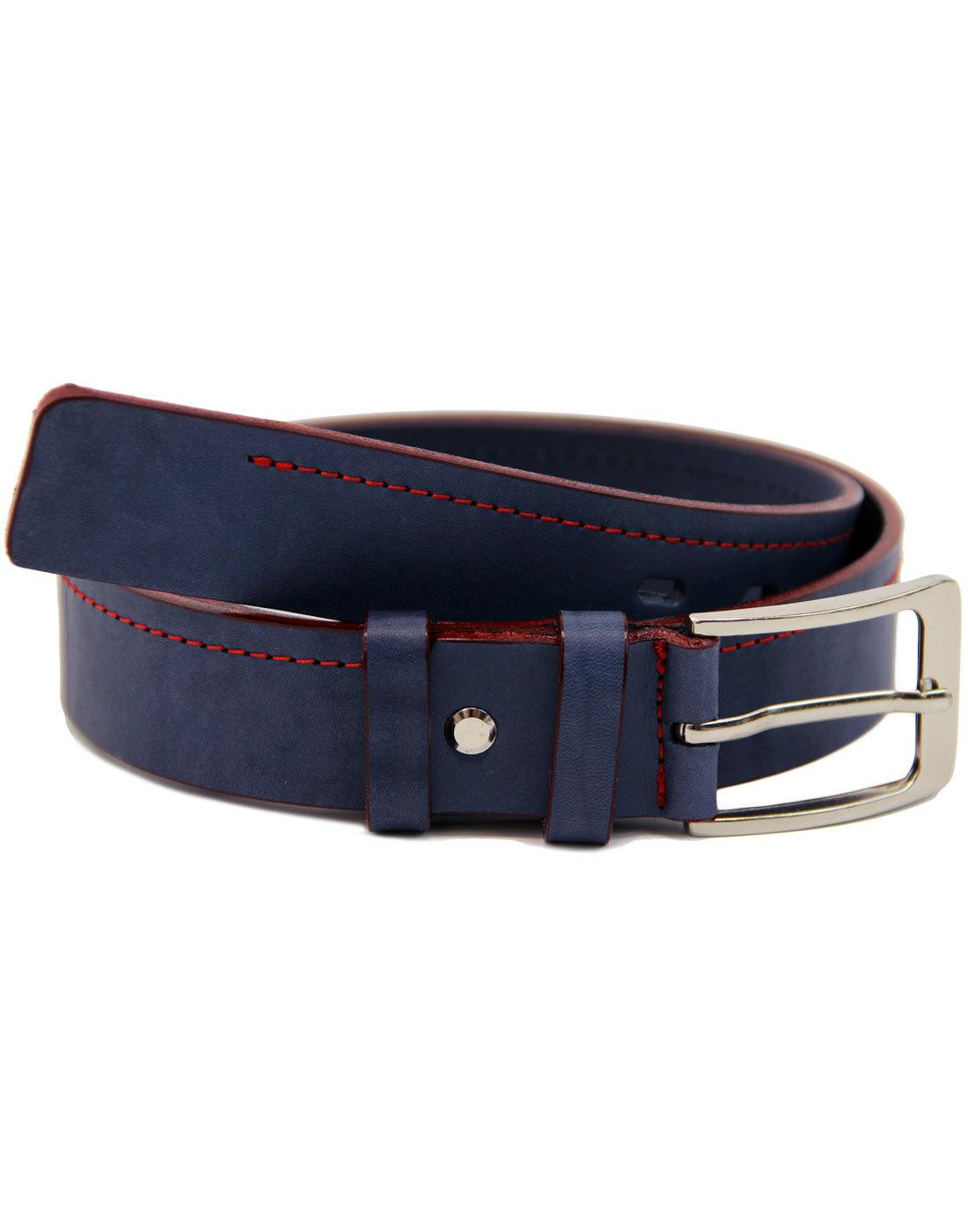 LACUZZO Retro 60s Mod Red Stitch Leather Belt NAVY