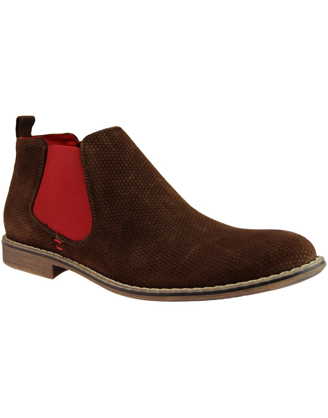 LACUZZO Mod Atom Embossed Suede Chelsea Boots (DB)