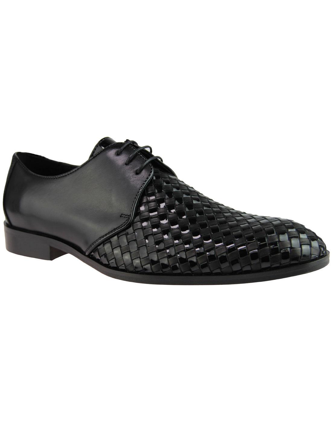 LACUZZO Mod Patent Basket Weave Derby Shoes BLACK