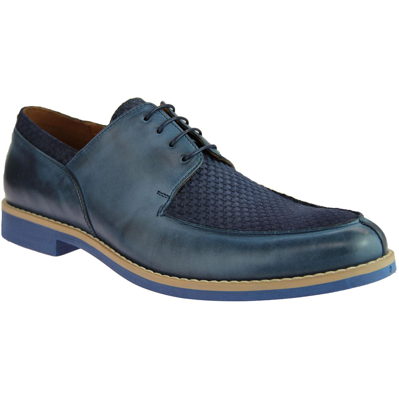 LACUZZO Retro Mod Dogtooth Stamp Suede Shoes