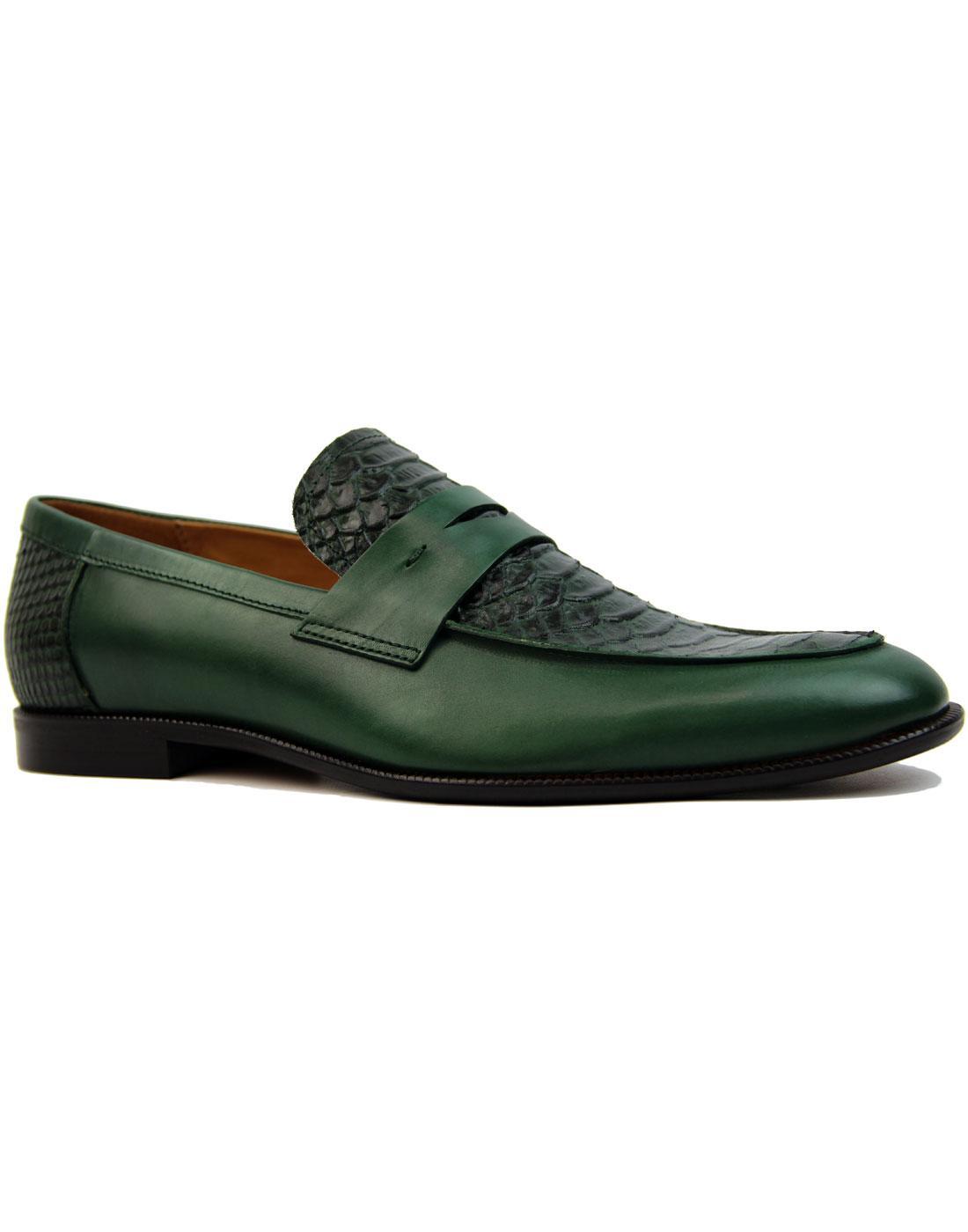 Gator LACUZZO Retro Mod Croc Stamp Loafers GREEN