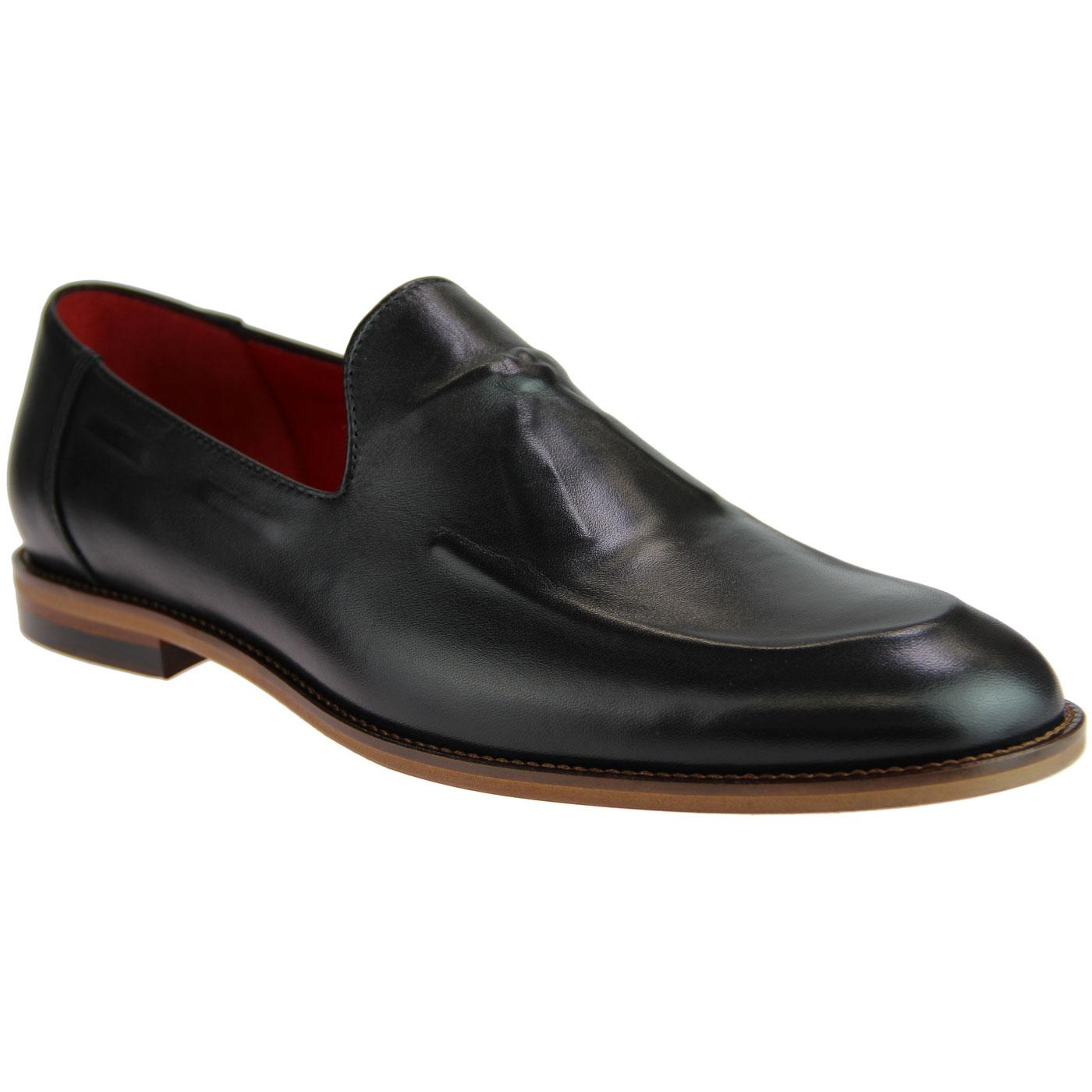 LACUZZO Retro 60s Mod Ghost Tassel Loafers (Black)