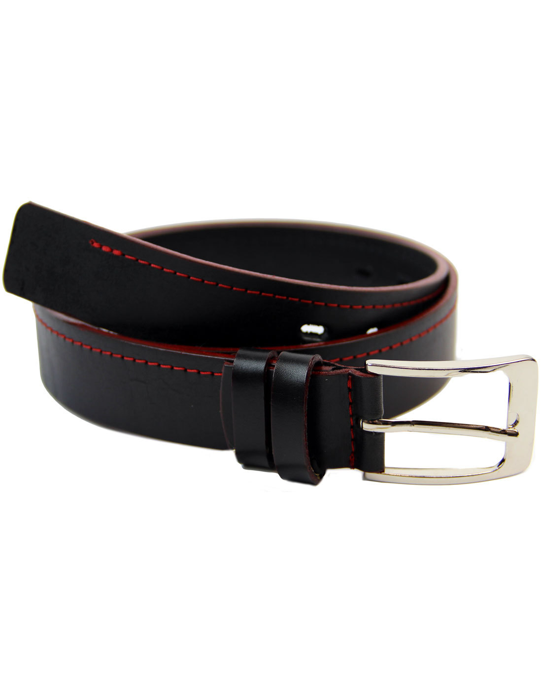 LACUZZO Retro Indie Mod Red Stitch Leather Belt