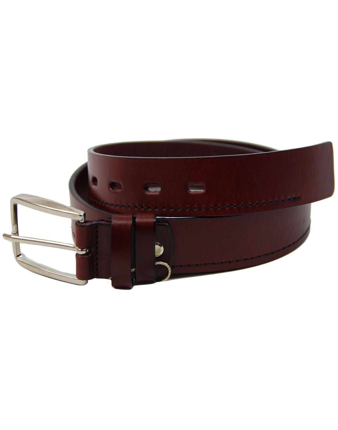 LACUZZO 60s Mod Black Stitch Leather Belt BURGUNDY