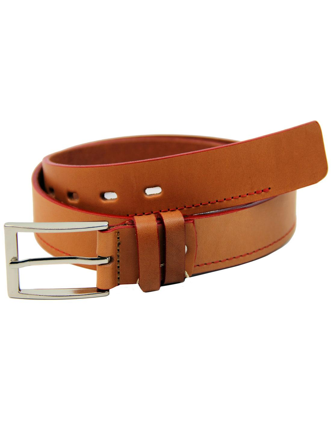 LACUZZO Retro Mod Red Stitch Leather Belt COGNAC