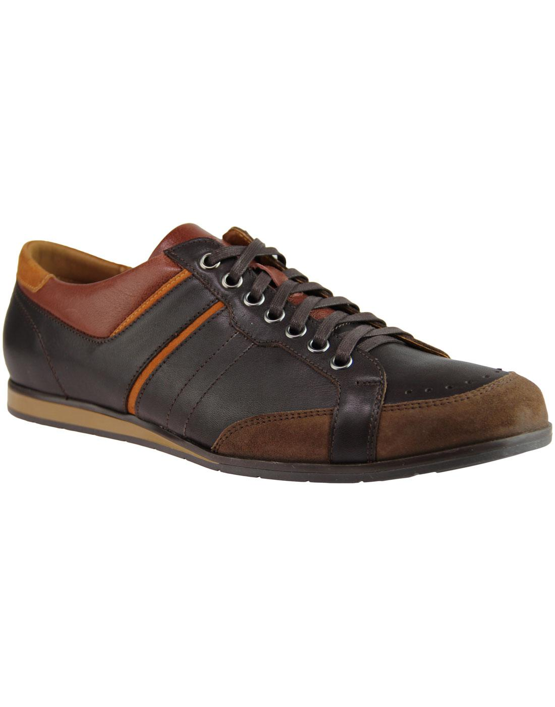 LACUZZO Retro 1970s Mod Casual Trainer Shoes BROWN