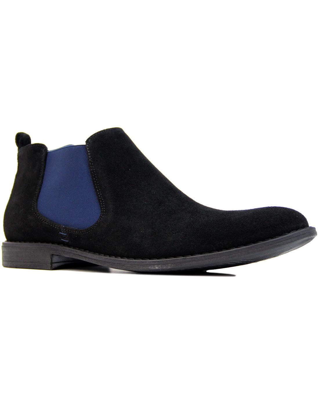 LACUZZO Mod Suede Desert Chelsea Boots BLACK/BLUE