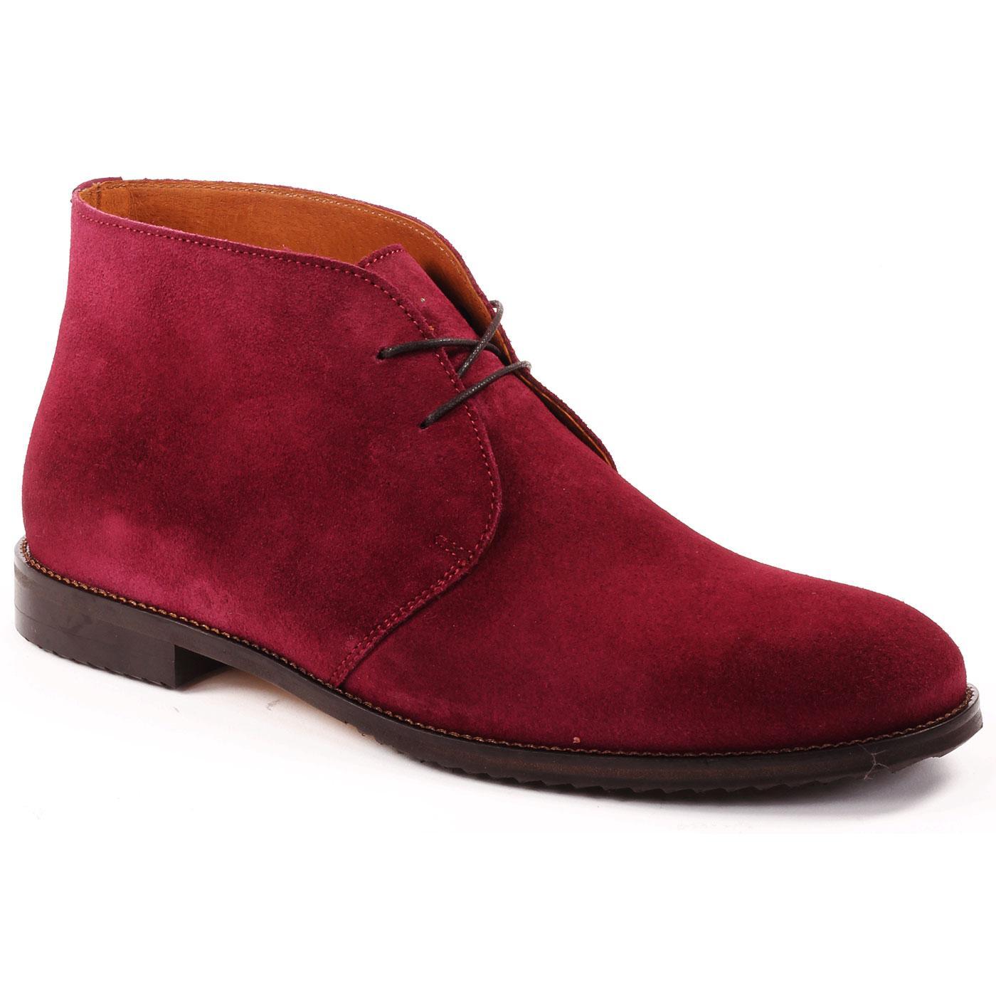 LACUZZO Men's Retro Mod Suede Chukka Boots CLARET