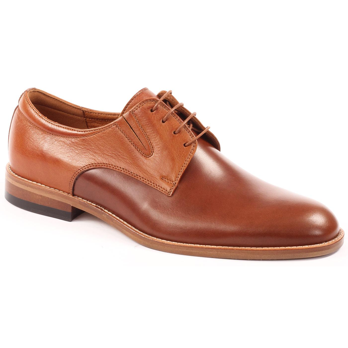 LACUZZO Retro Mod Two Tone Gusset Derby Shoes TAN