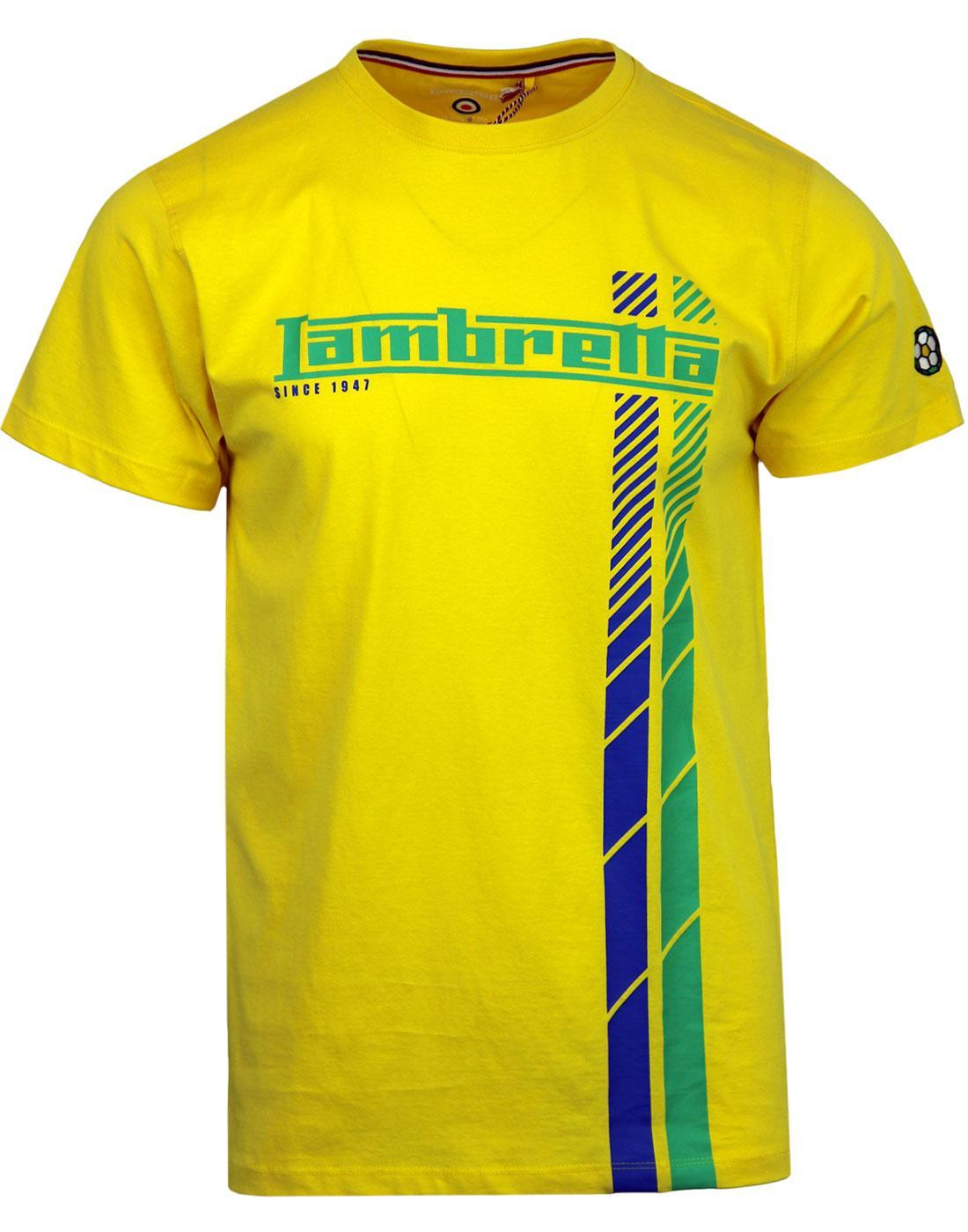 LAMBRETTA Retro Racing Stripe Brazil Football Tee
