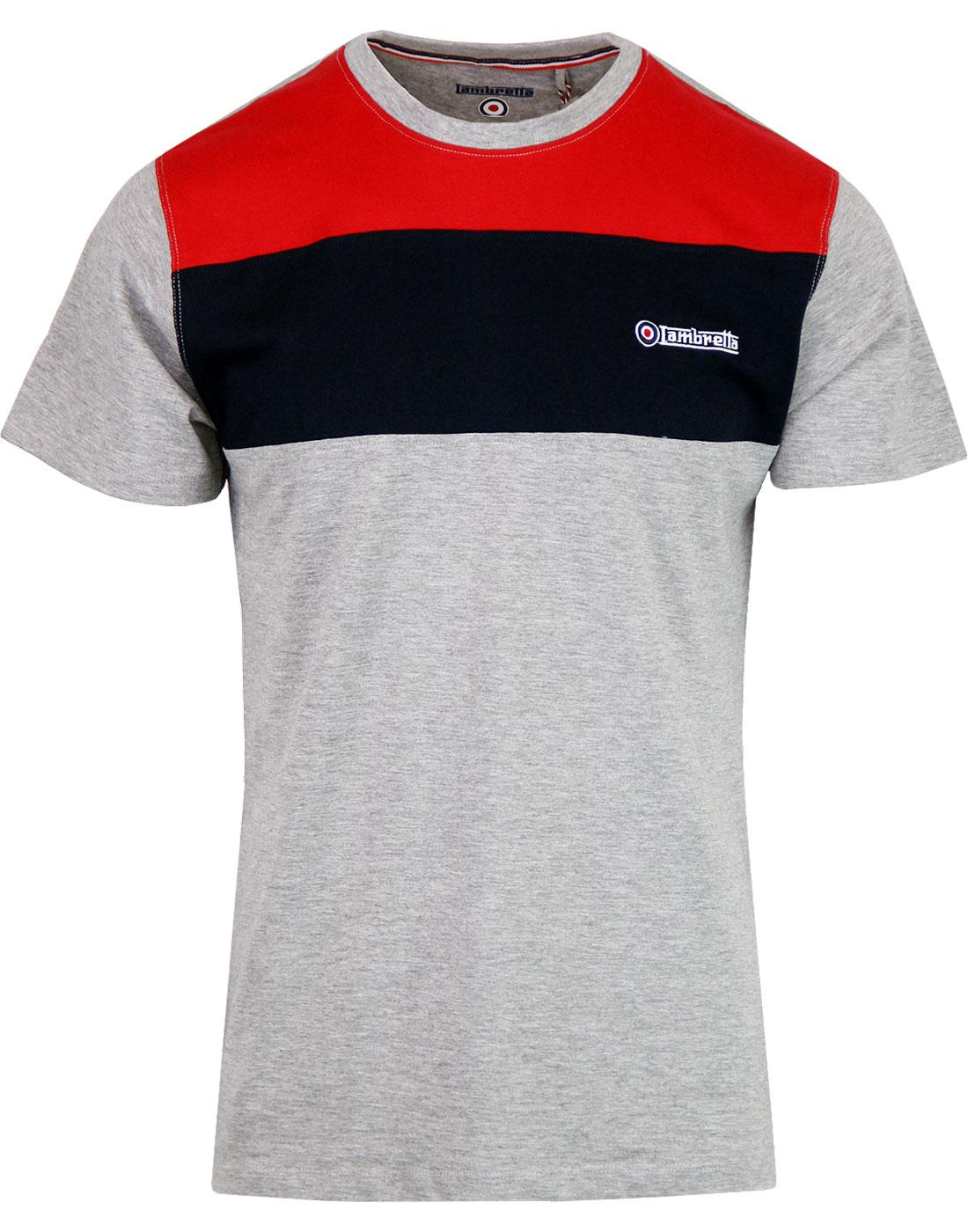 LAMBRETTA Cut & Sew Retro Mod Chest Panel Tee GREY