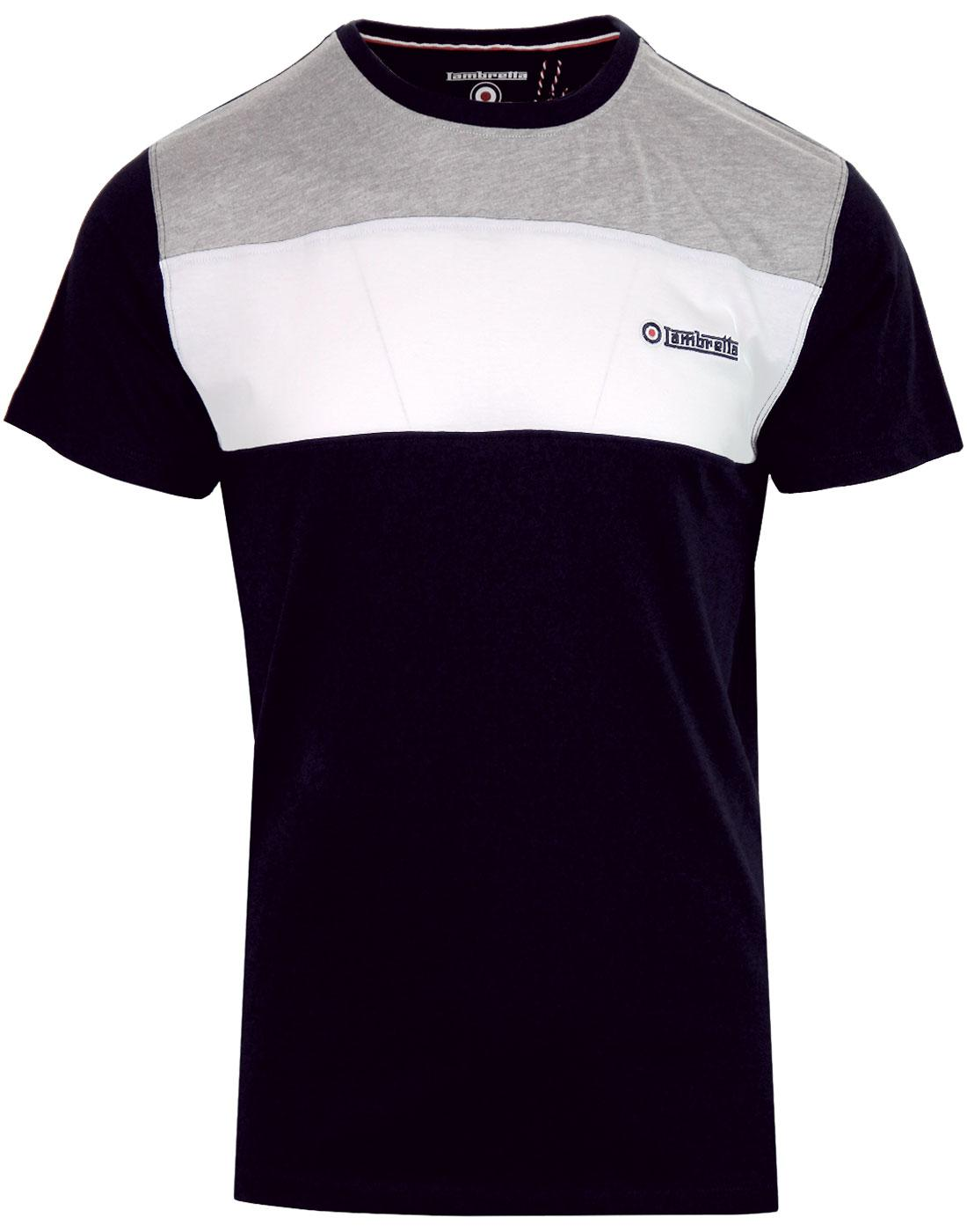 LAMBRETTA Cut & Sew Retro Mod Chest Panel Tee NAVY