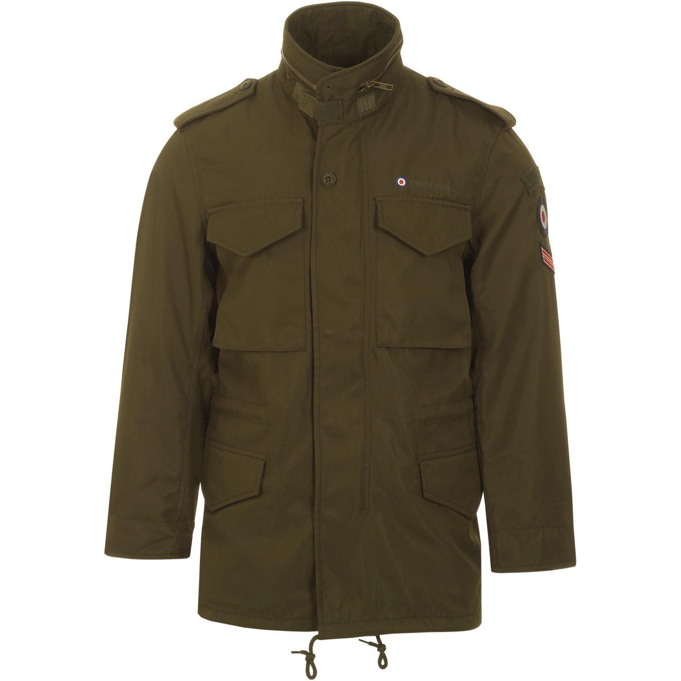LAMBRETTA Men's Retro Mod Military Field Jacket