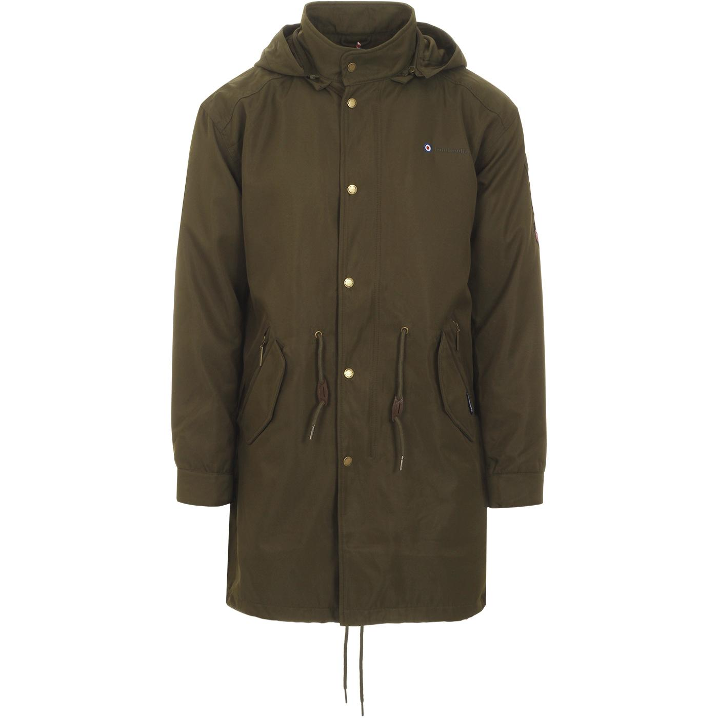 LAMBRETTA Retro Mod Patched Fishtail Parka (Khaki)