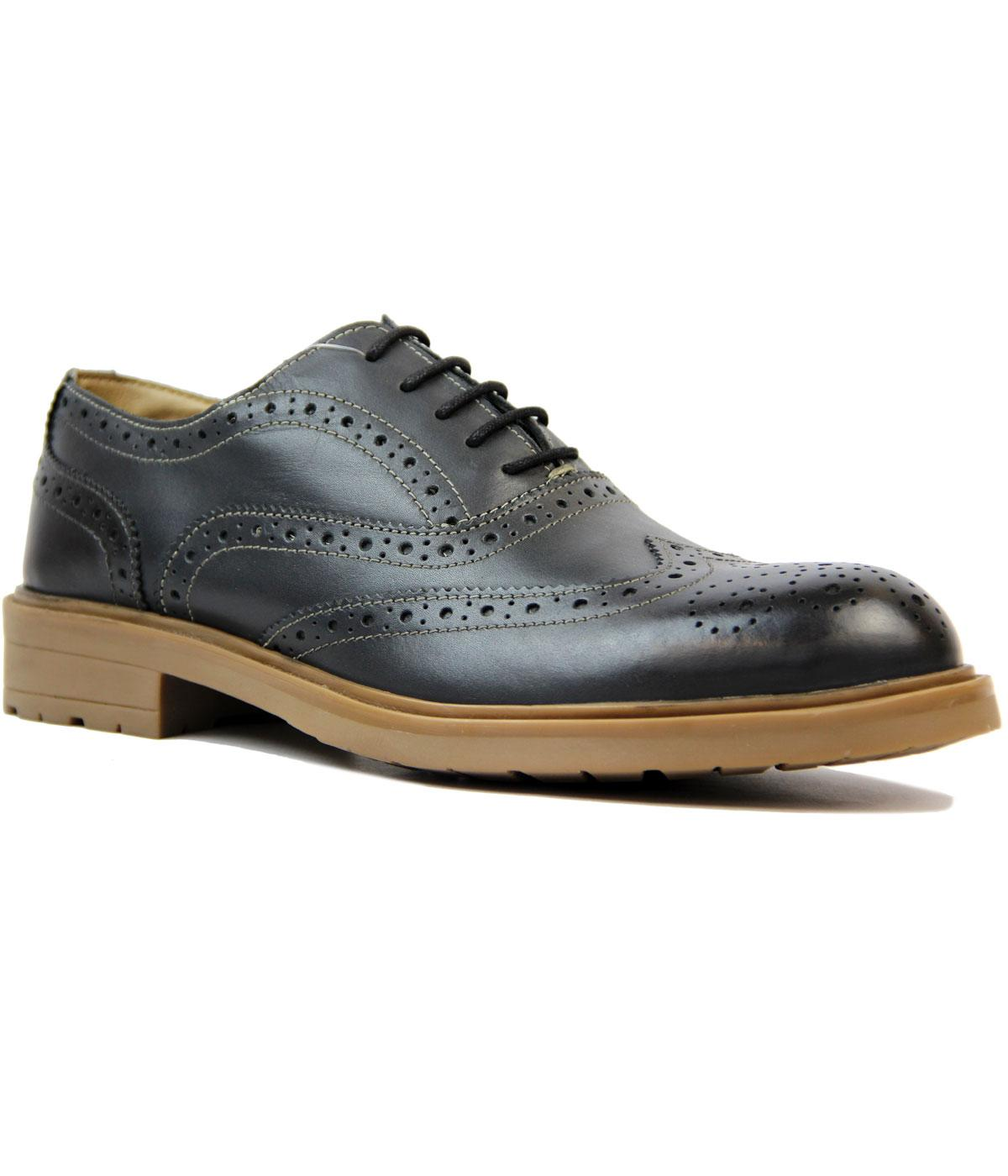 Jack LAMBRETTA Retro Mod Gibson Brogue Shoes GREY