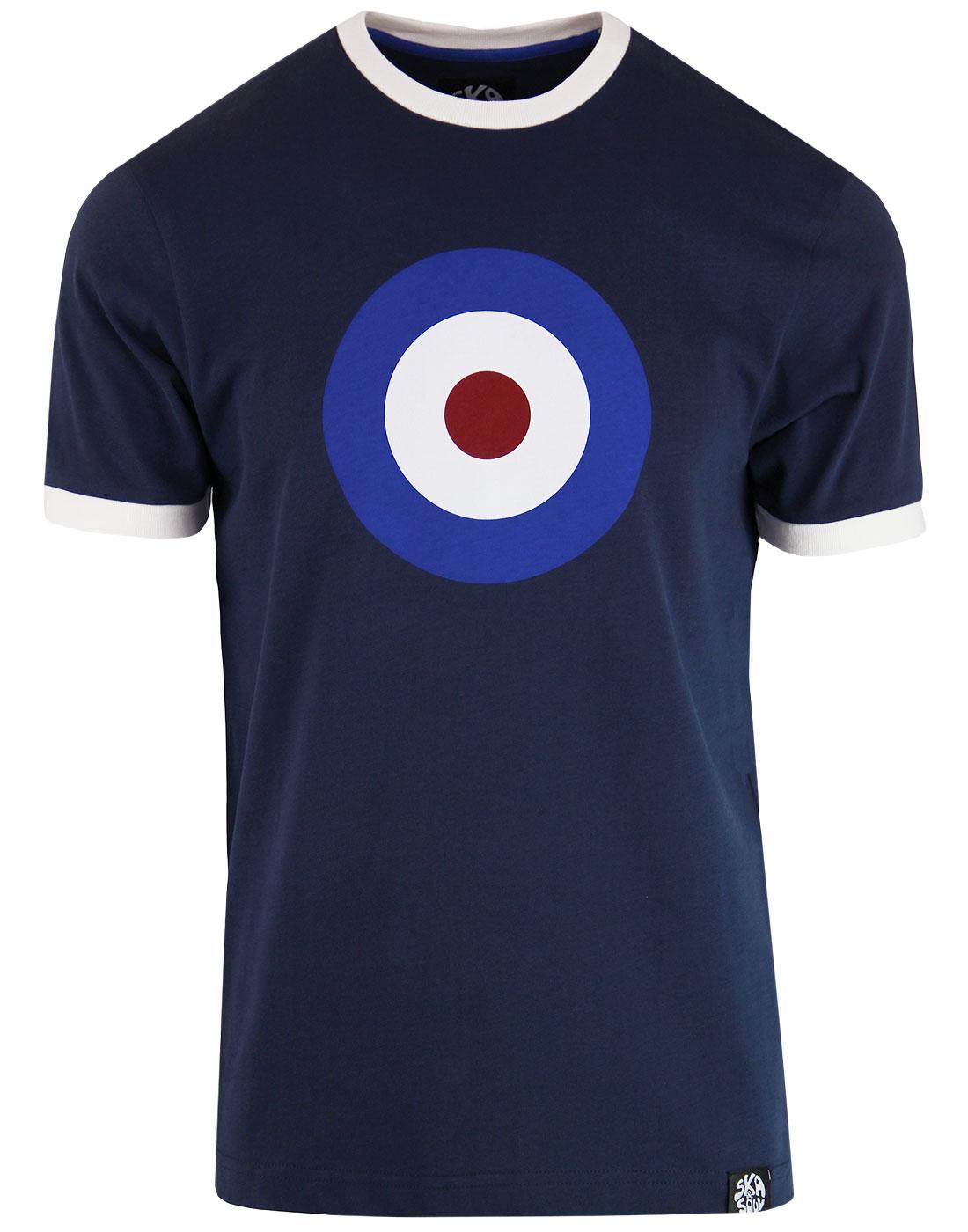 SKA & SOUL Men's 1960s Mod Target Ringer T-shirt N