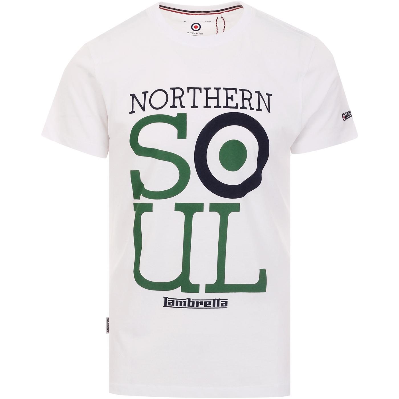 LAMBRETTA Northern Soul Logo Mod T-Shirt WHITE