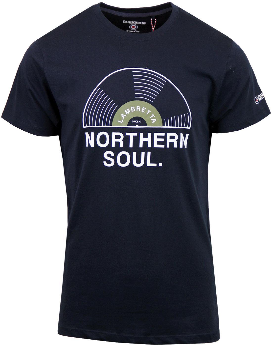 LAMBRETTA Northern Soul Record Print T-shirt NAVY