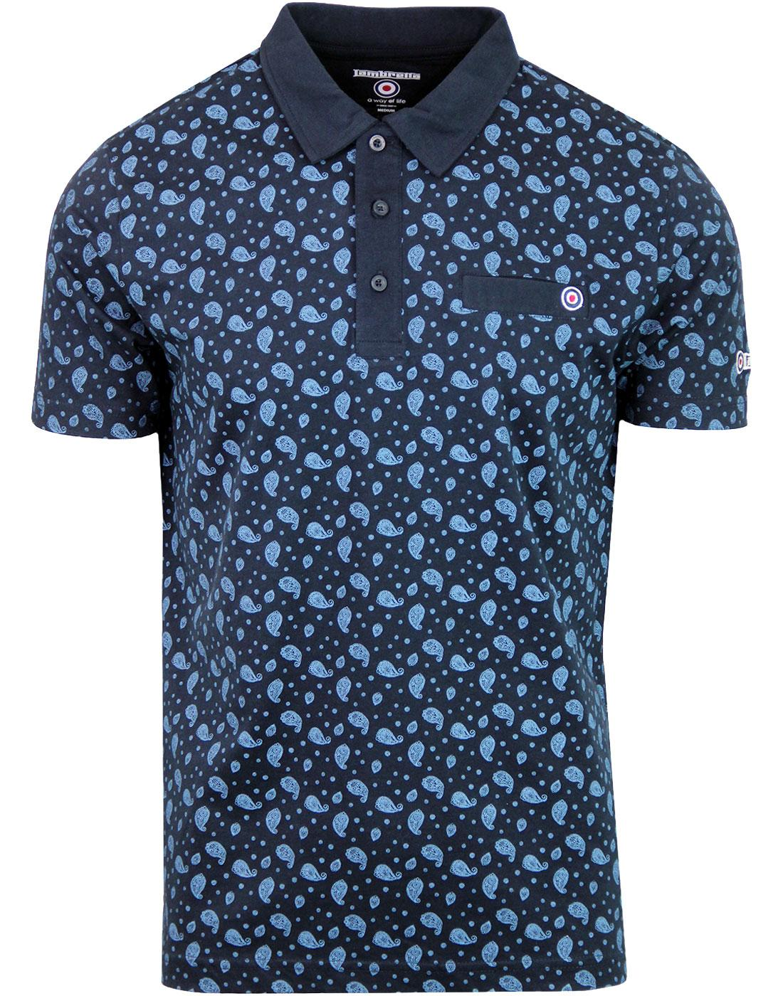 LAMBRETTA All Over Paisley Print Jersey Polo NAVY