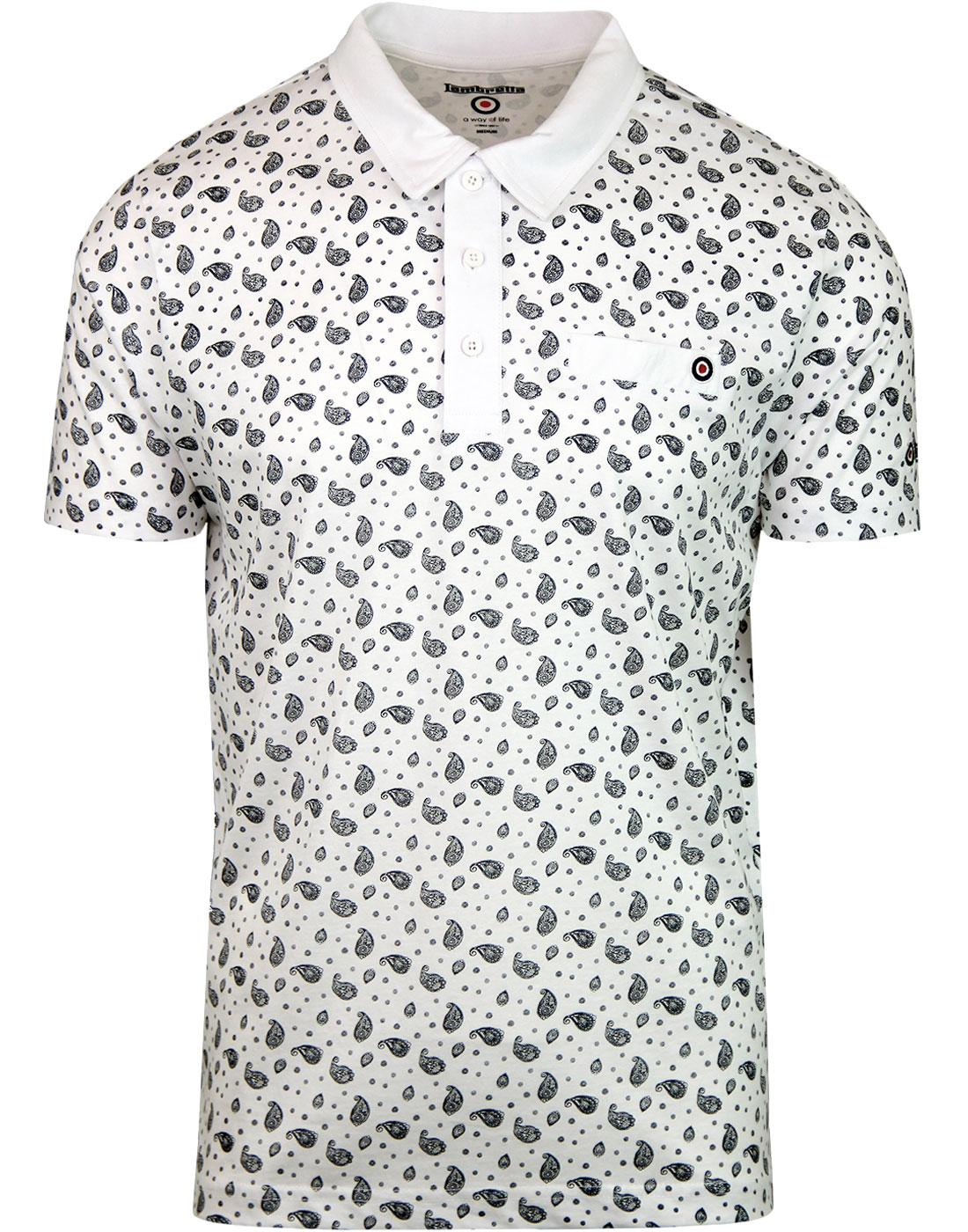 LAMBRETTA All Over Paisley Print Jersey Polo WHITE
