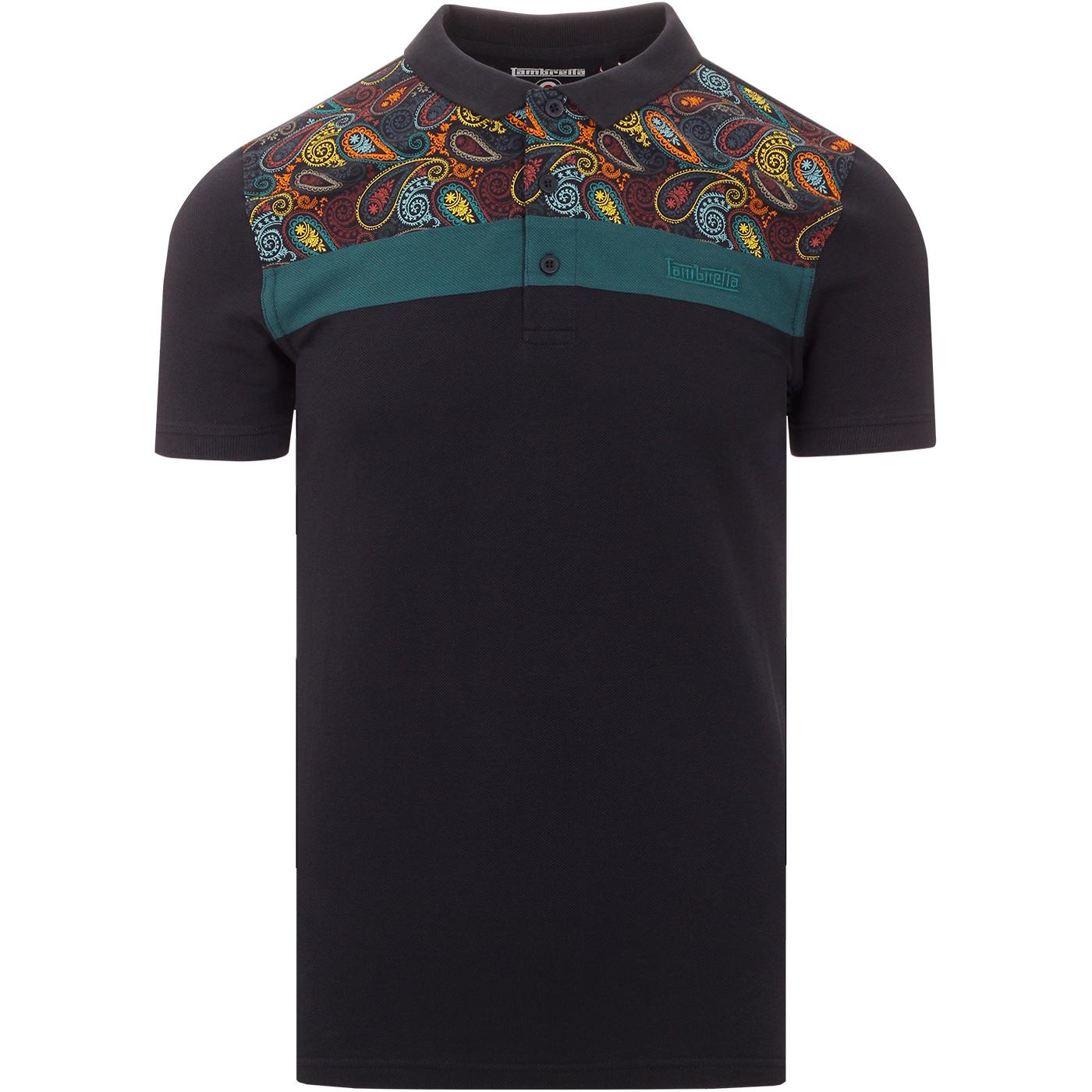 LAMBRETTA Retro 60s Paisley Panel Pique Polo Shirt