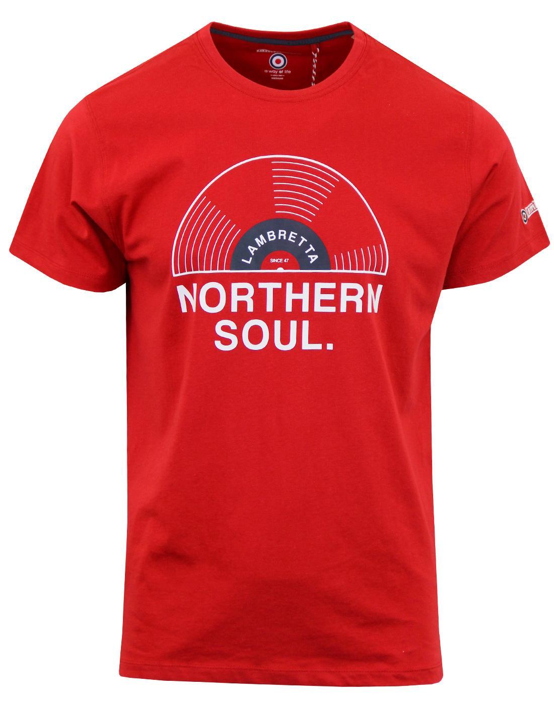 LAMBRETTA Northern Soul Record Print T-shirt RED