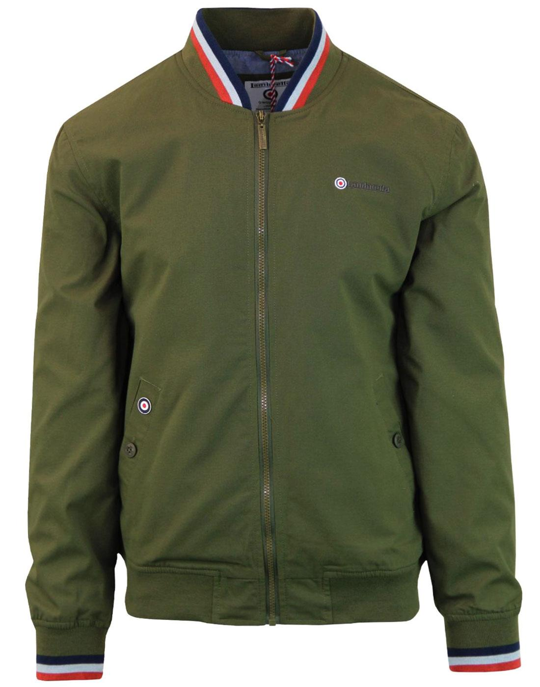 LAMBRETTA Retro Mod Tipped Monkey Jacket (MOSS)