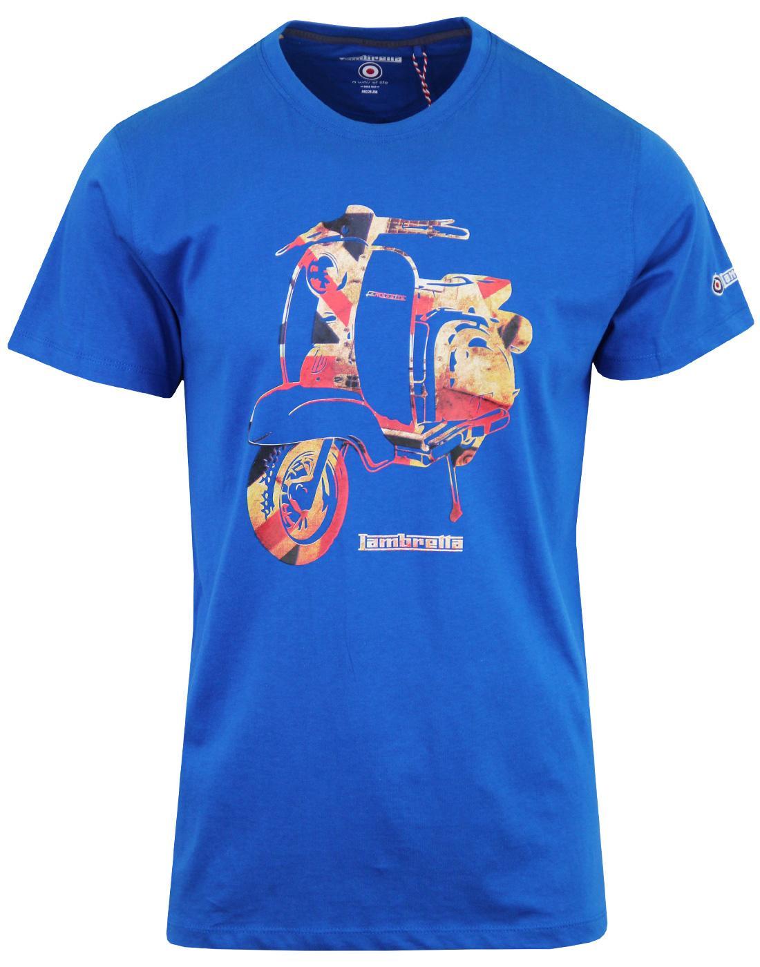 LAMBRETTA Retro Mod Union Jack Scooter Tee BLUE