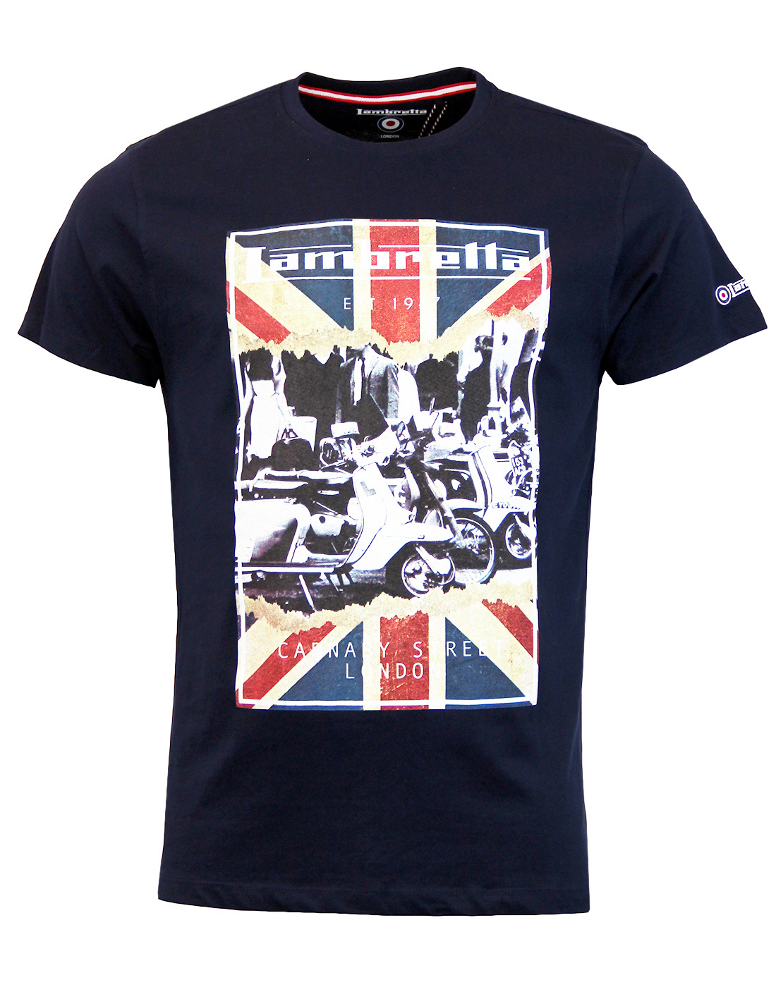 04501fe5c15 LAMBRETTA Mens Scooter Union Jack Mod Poster Tee in Navy