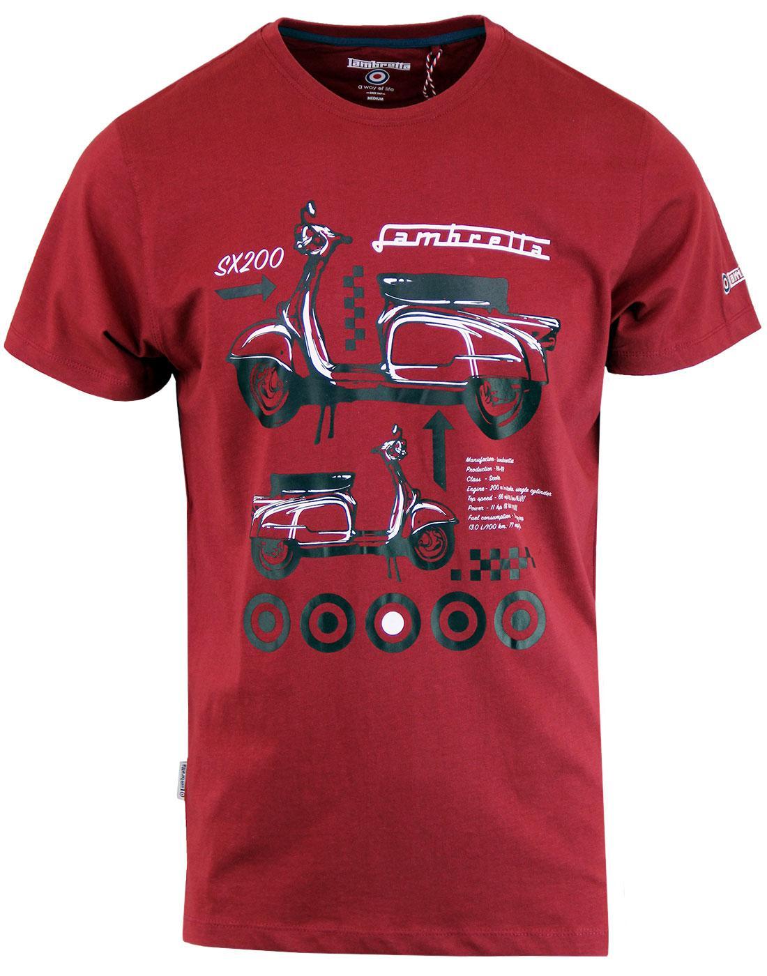 LAMBRETTA SX200 Retro Mod Scooter Graphic T-Shirt