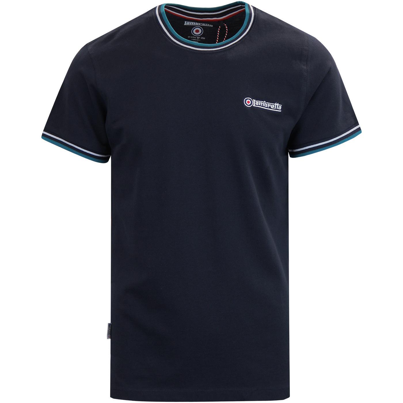 LAMBRETTA Men's Retro Tipped Pique T-shirt NAVY