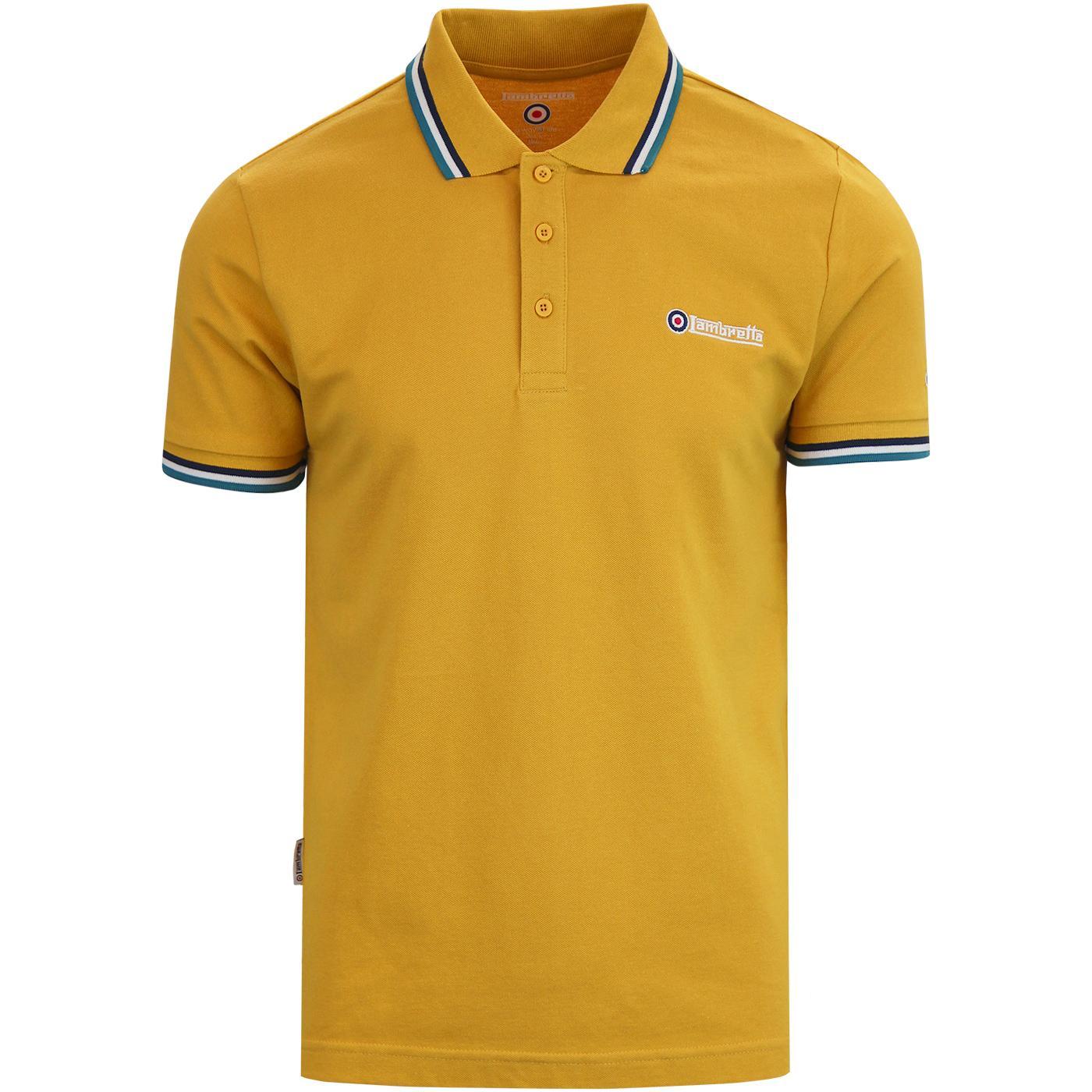 LAMBRETTA Triple Tipped Mod Pique Polo Shirt GOLD