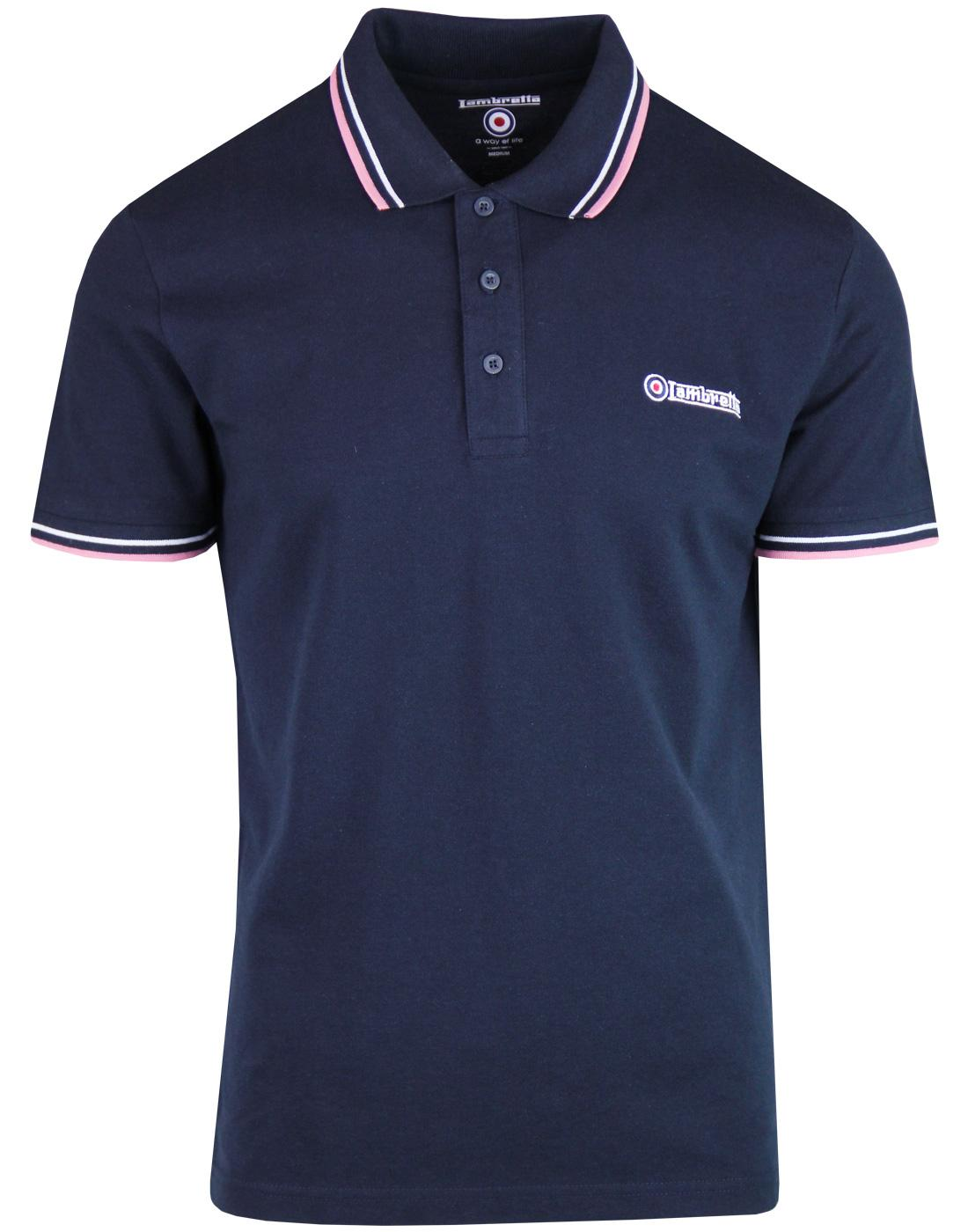 LAMBRETTA Retro Twin Tipped Pique Polo Shirt NAVY