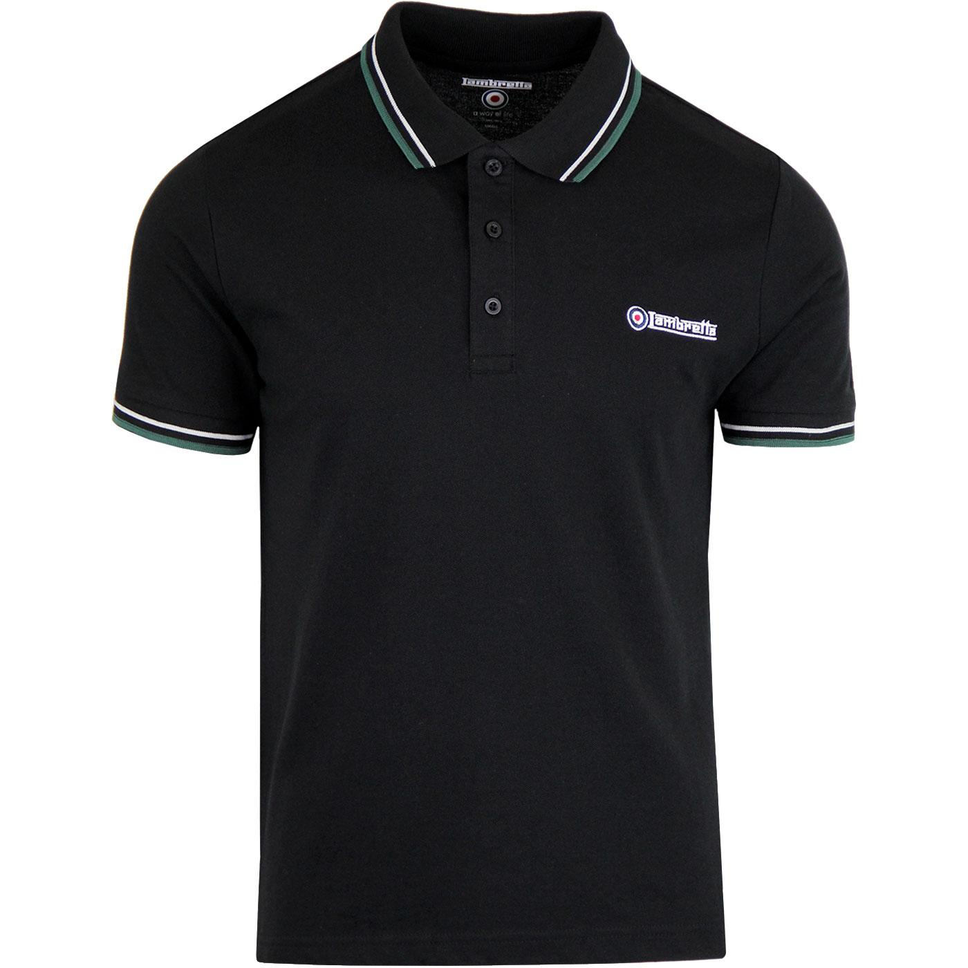 LAMBRETTA Retro Twin Tipped Pique Polo Shirt BLACK