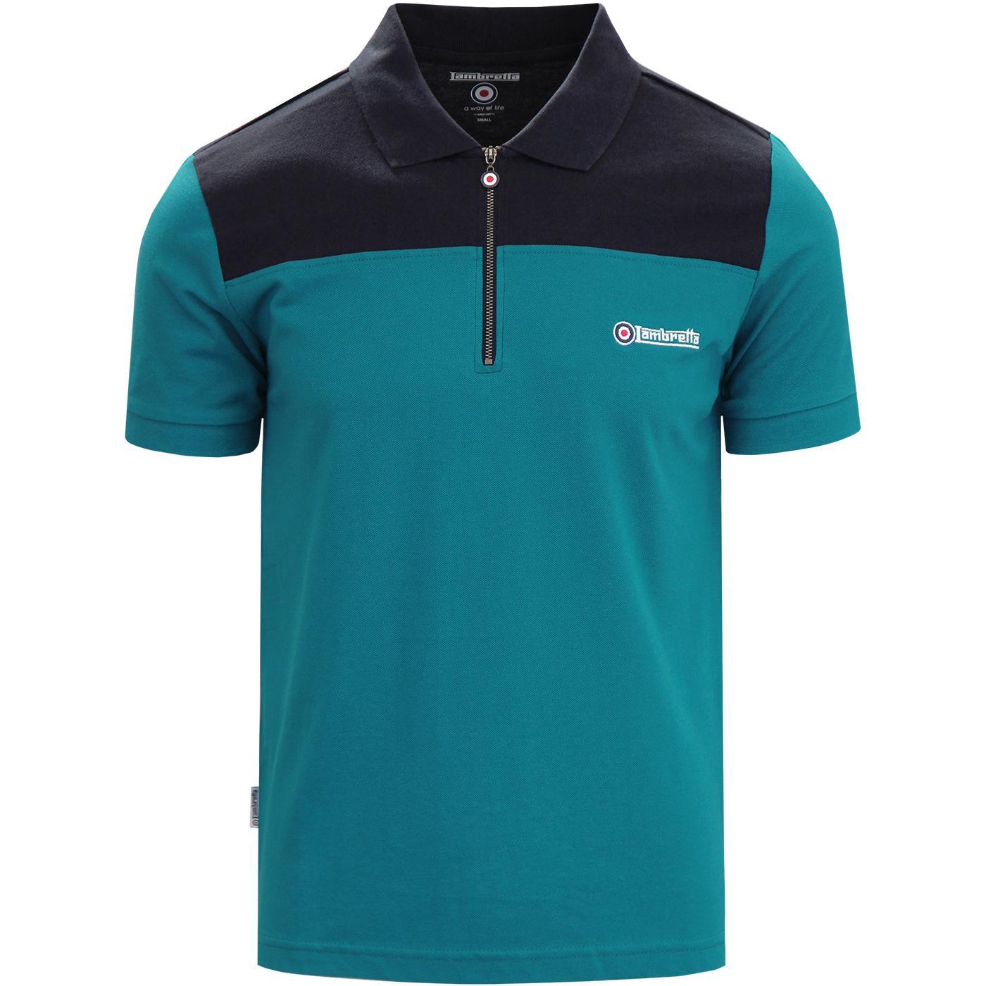 LAMBRETTA Retro Mod 1/4 Zip Up Pique Polo Shirt O
