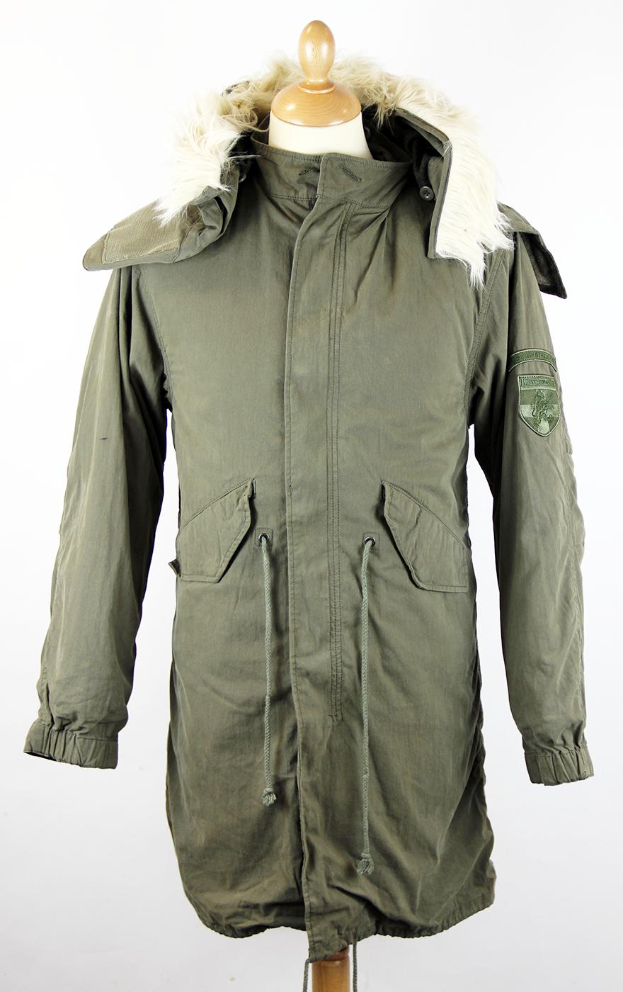 LAMBRETTA M51 Retro Indie Mod Fishtail Parka Jacket Khaki 783f44d00fd