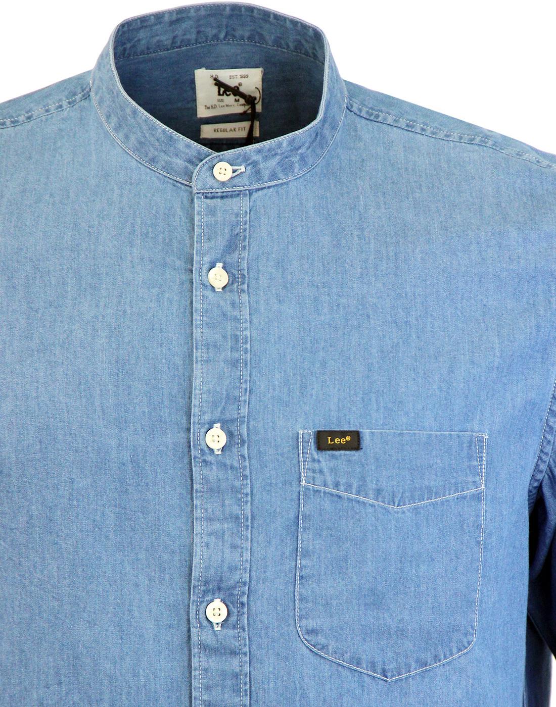 181ebdd4898 LEE Retro 60s Band Collar Denim Grandad Shirt in Dark Indigo