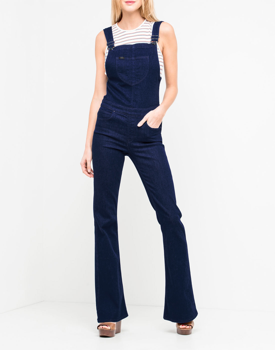 100% high quality reputation first real deal LEE JEANS Women's Retro 70s Denim Bib Flare Overalls in Rinse