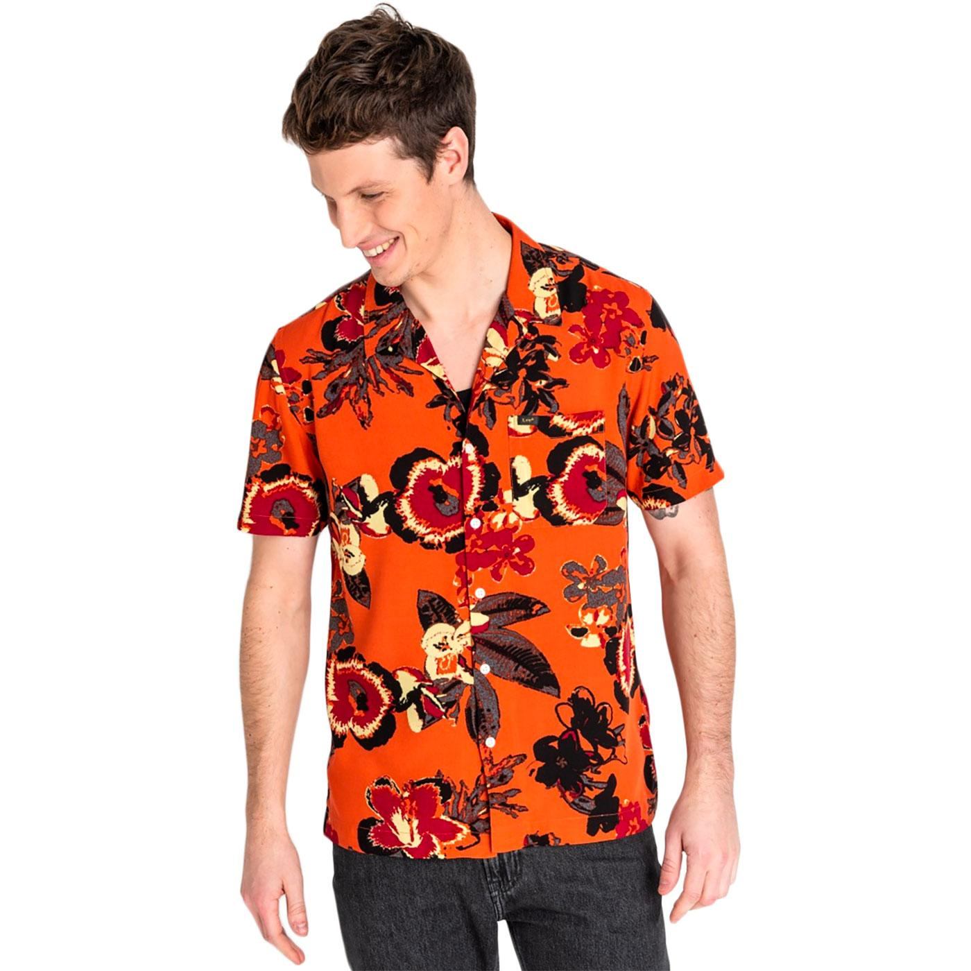 LEE Retro 1970s Floral Hawaiian Shirt (Burned Red)
