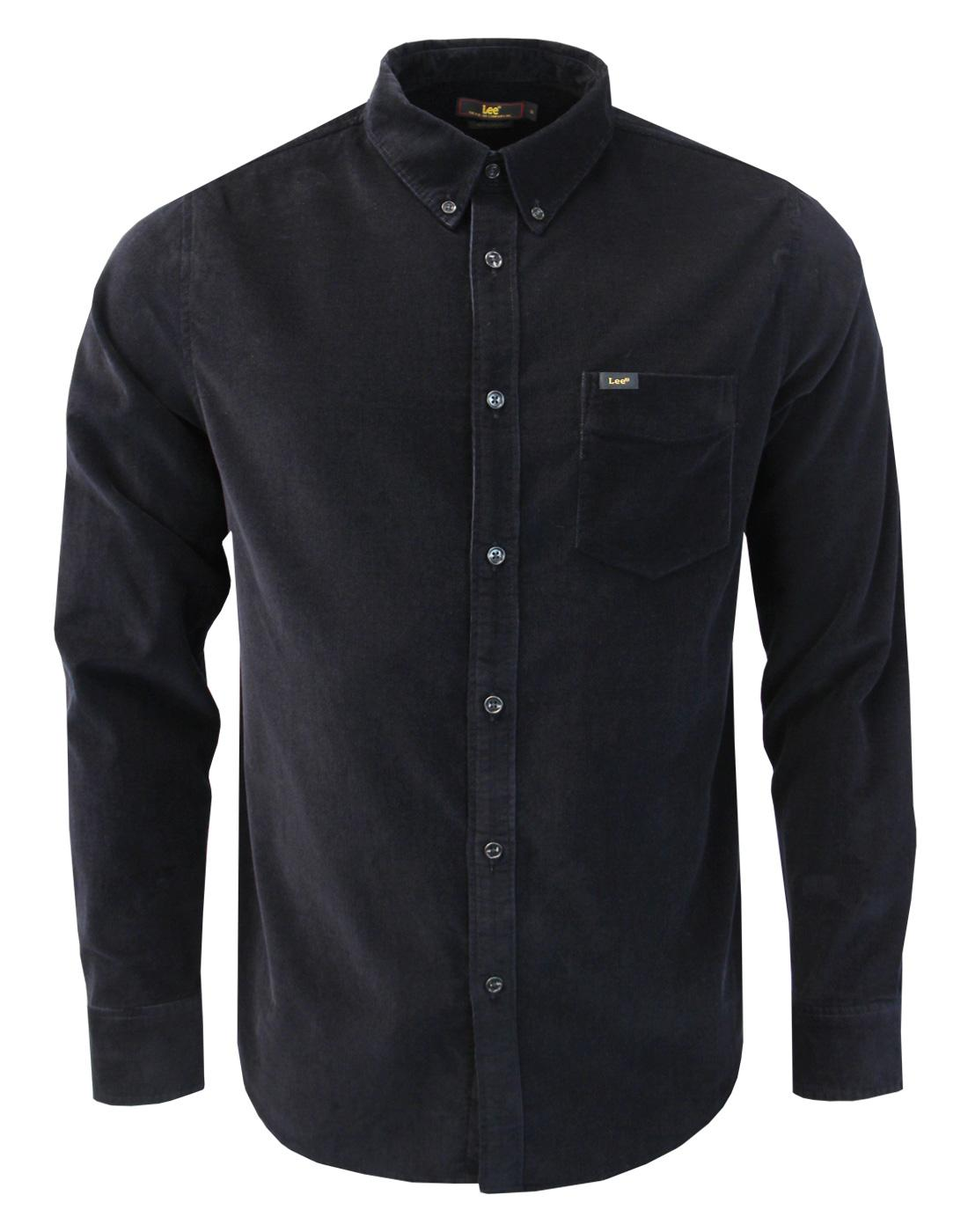 5a177700bf LEE Men s Retro 1960s Mod Fine Cord Button Down Shirt in Black