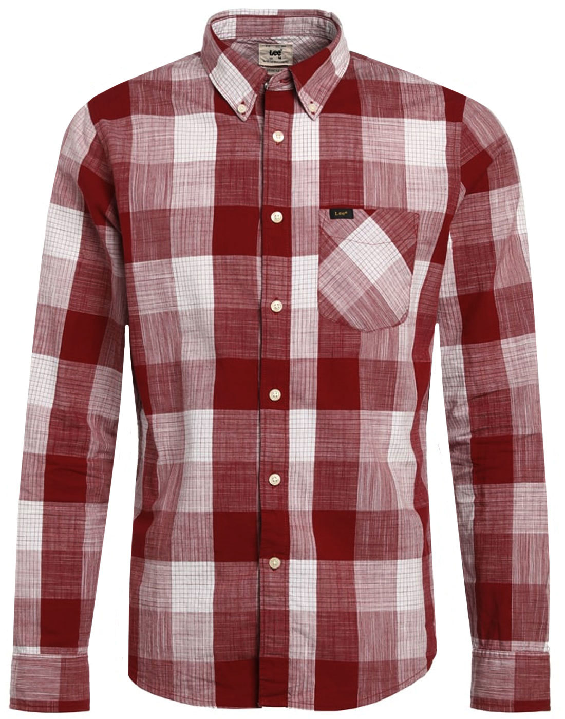LEE JEANS Retro Mod Check Button Down Shirt (RED)
