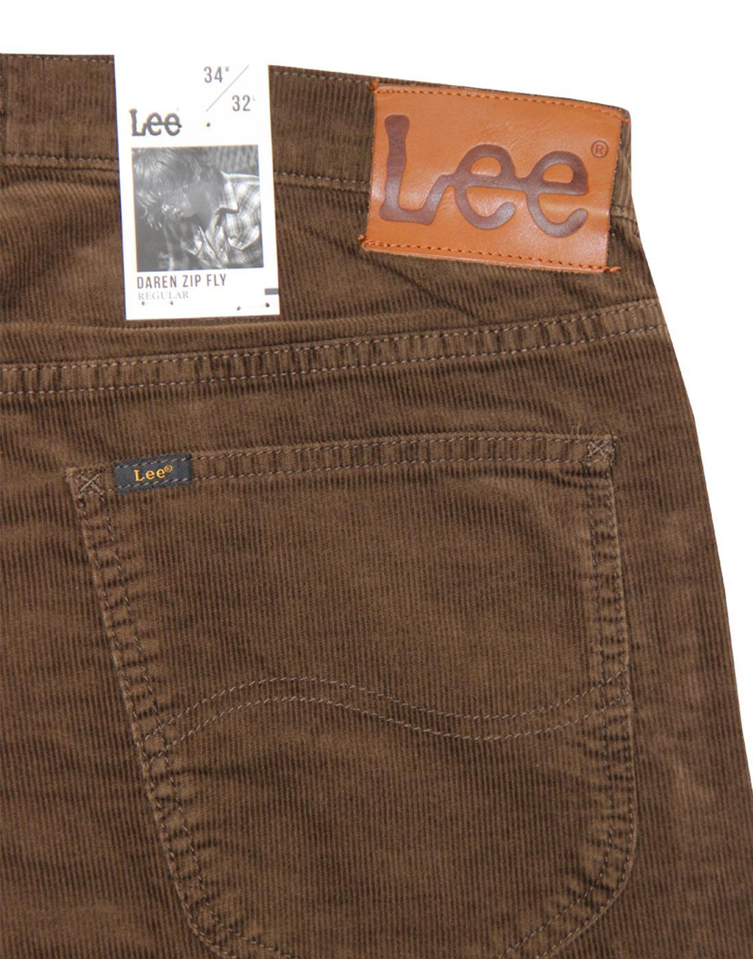 883b1e75 LEE Daren Men's Retro 1960s Mod Slim Cord Trousers in Dark Brown