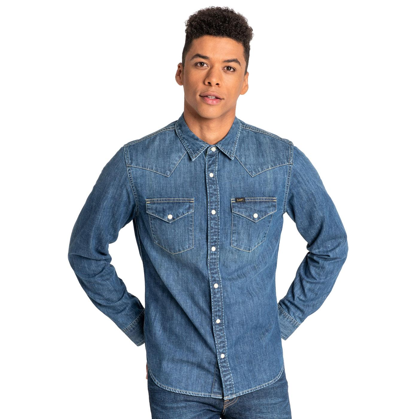 LEE Retro 70s Slim Fit Denim Western Shirt OB