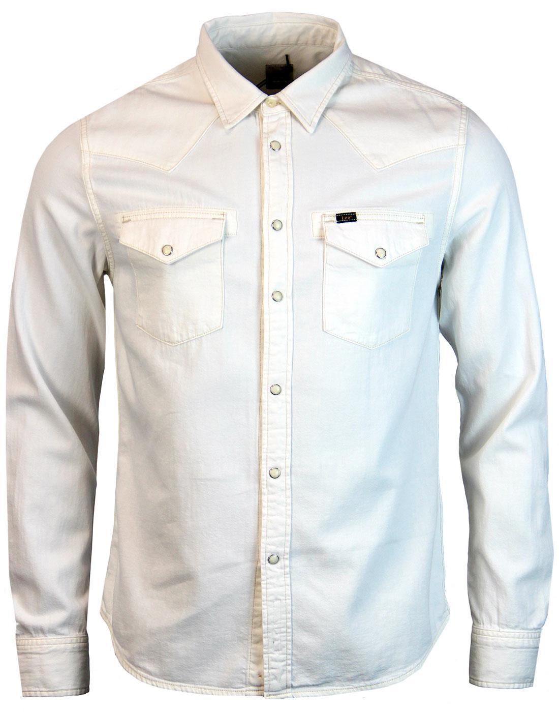 b8a872baaf LEE Jeans Retro 1970s Mod Twin Pocket White Denim Western Shirt
