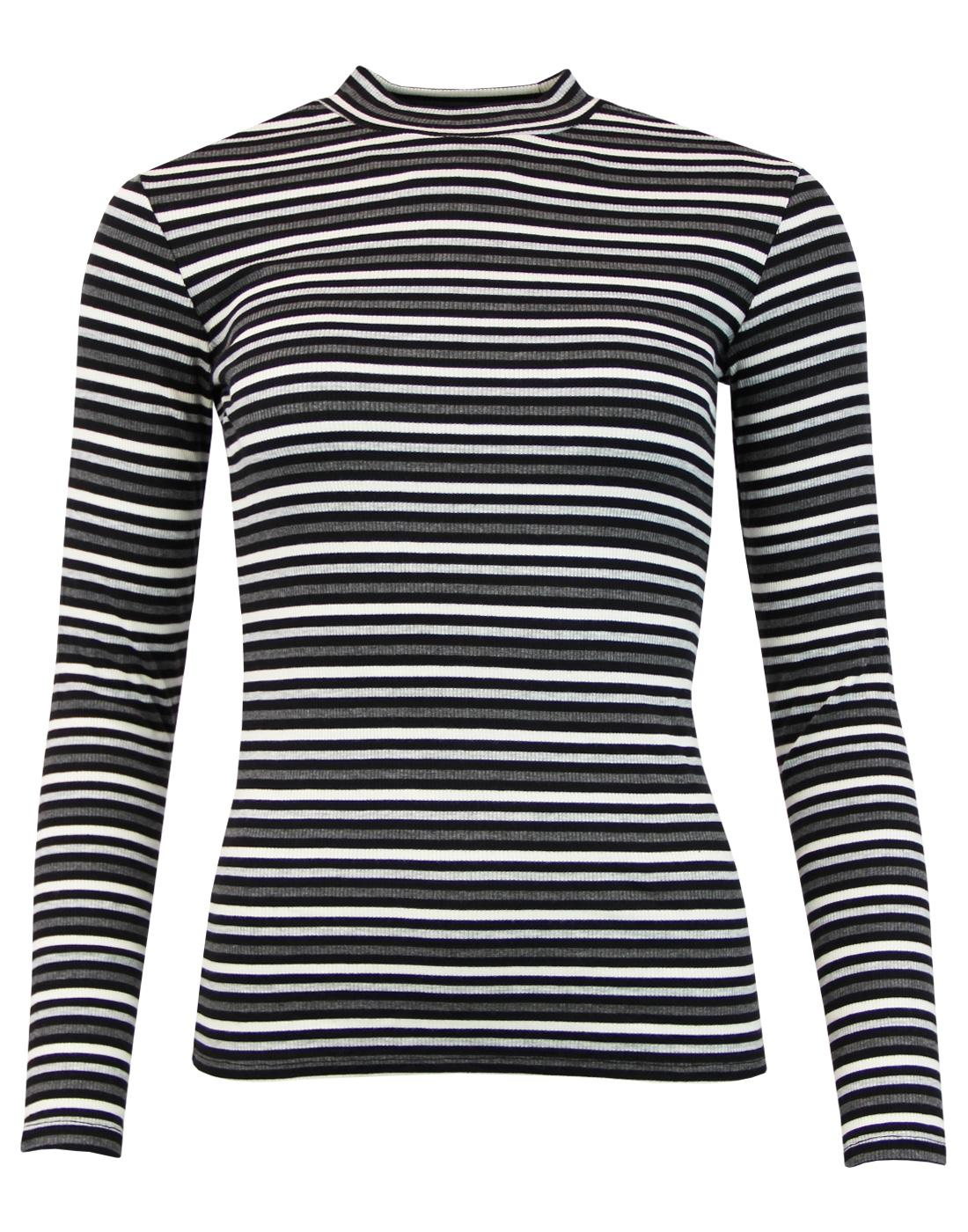 LEE Retro 60s Mod Ribbed Stripe Turtleneck Top (B)