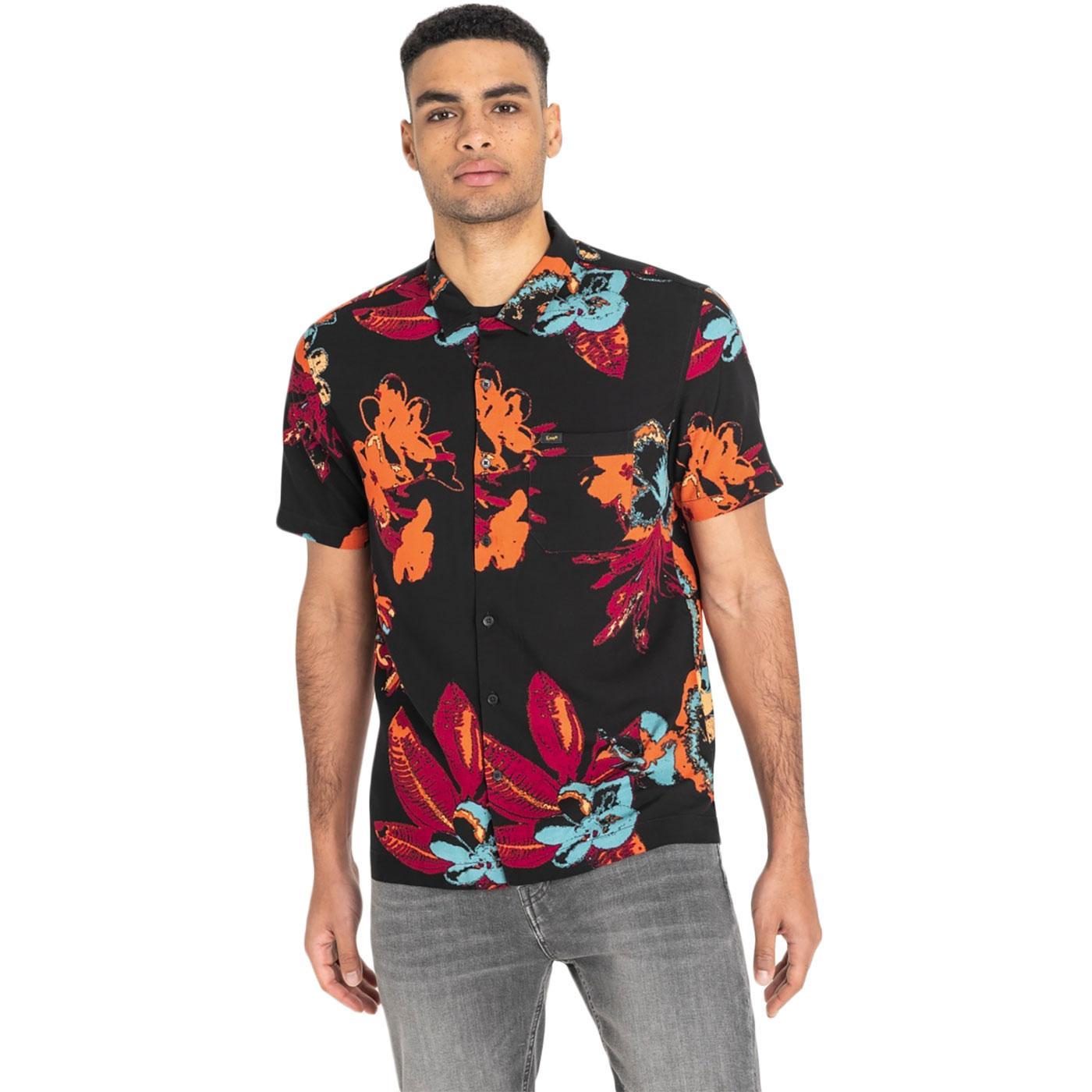 LEE Retro 1970s Bold Floral Hawaiian Shirt (Black)